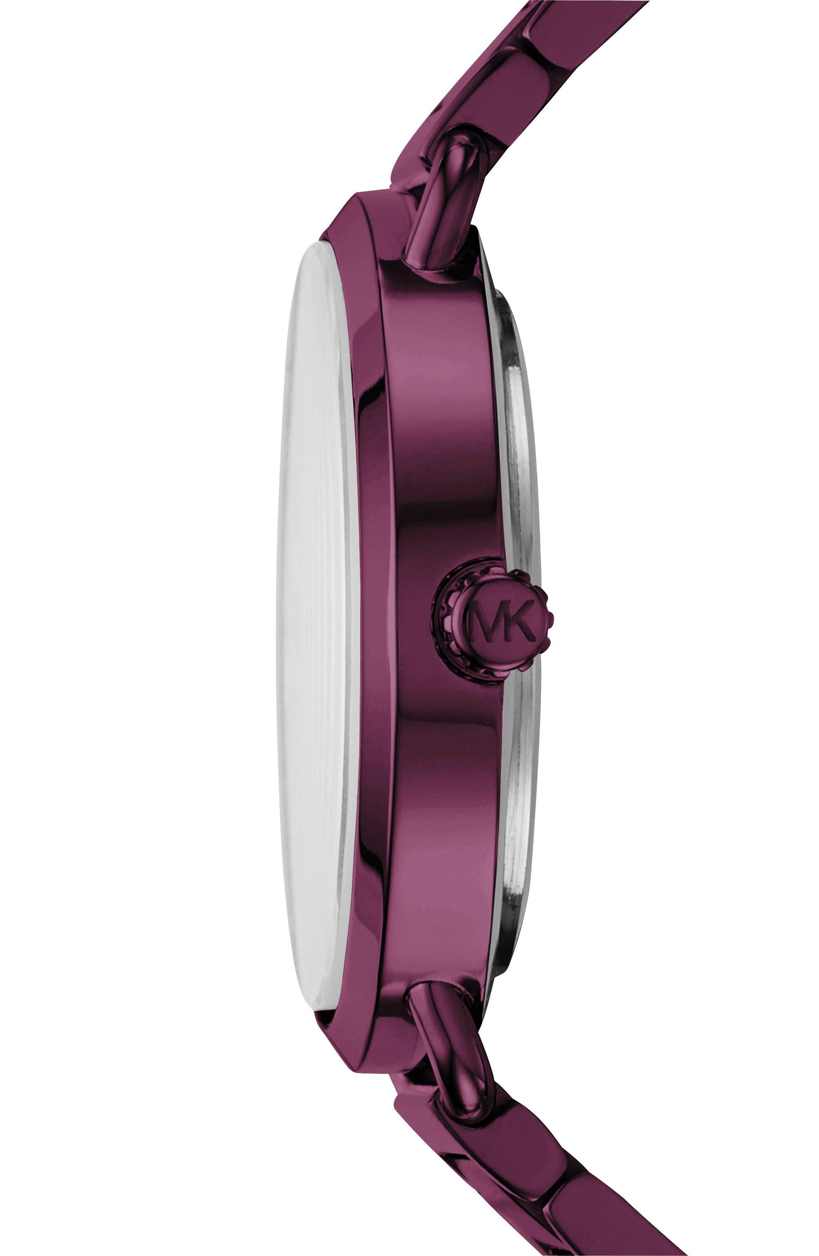 Portia Pavé Bracelet Watch, 36mm,                             Alternate thumbnail 2, color,                             Purple