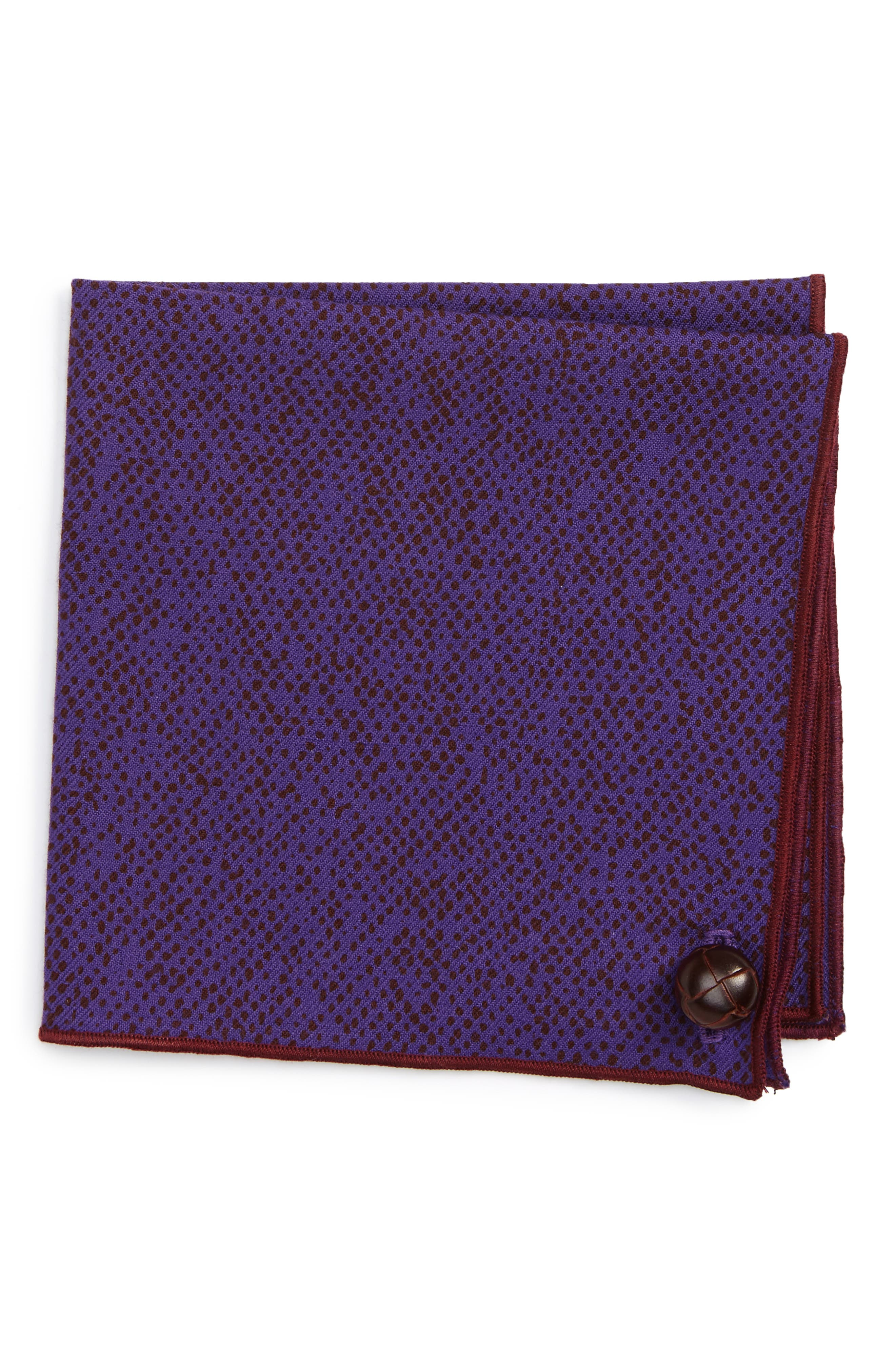 Purple Dot Wool Pocket Square,                             Main thumbnail 1, color,                             Purple
