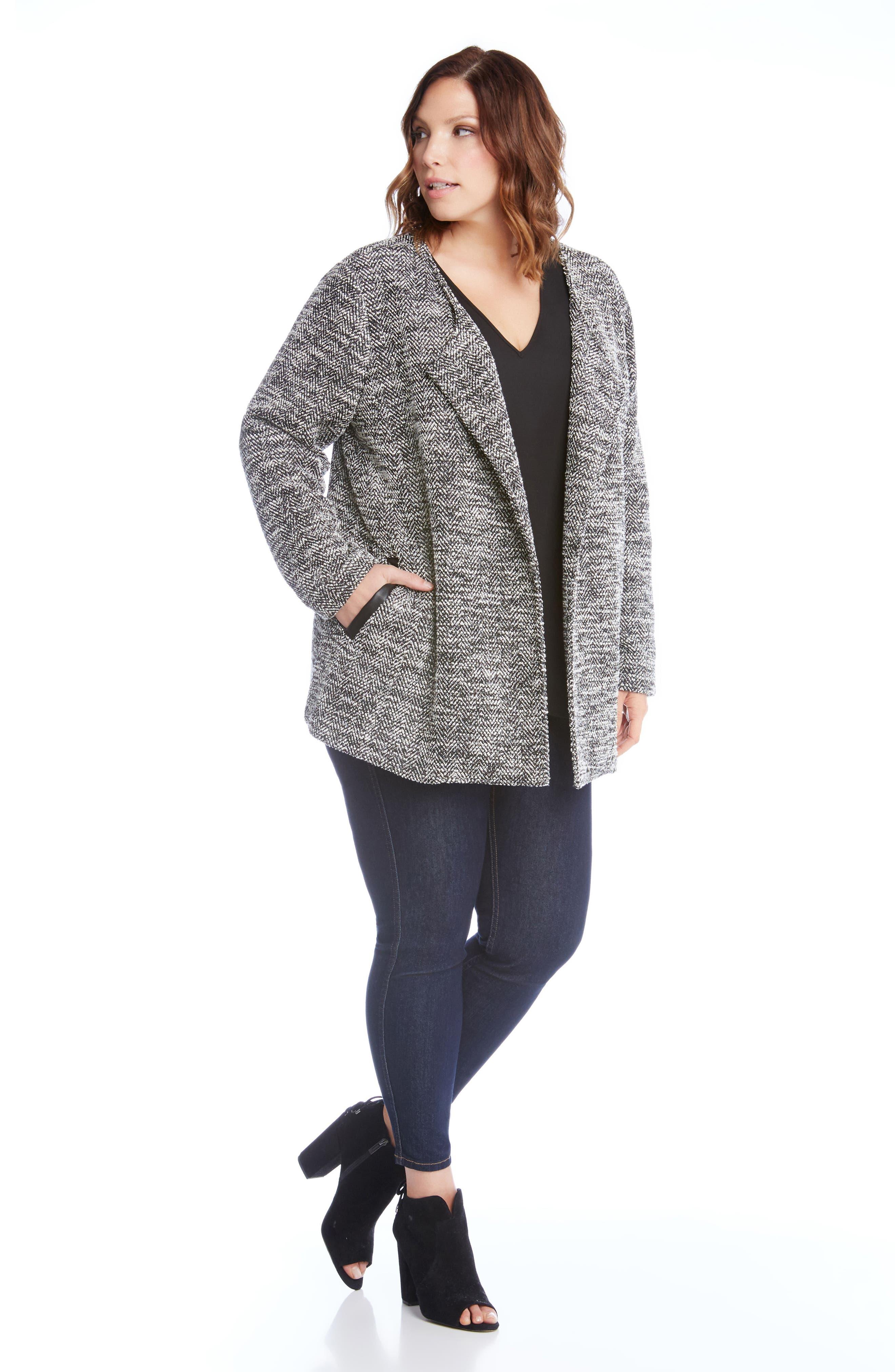 Alternate Image 2  - Karen Kane Lightweight Tweed Knit Jacket (Plus Size)