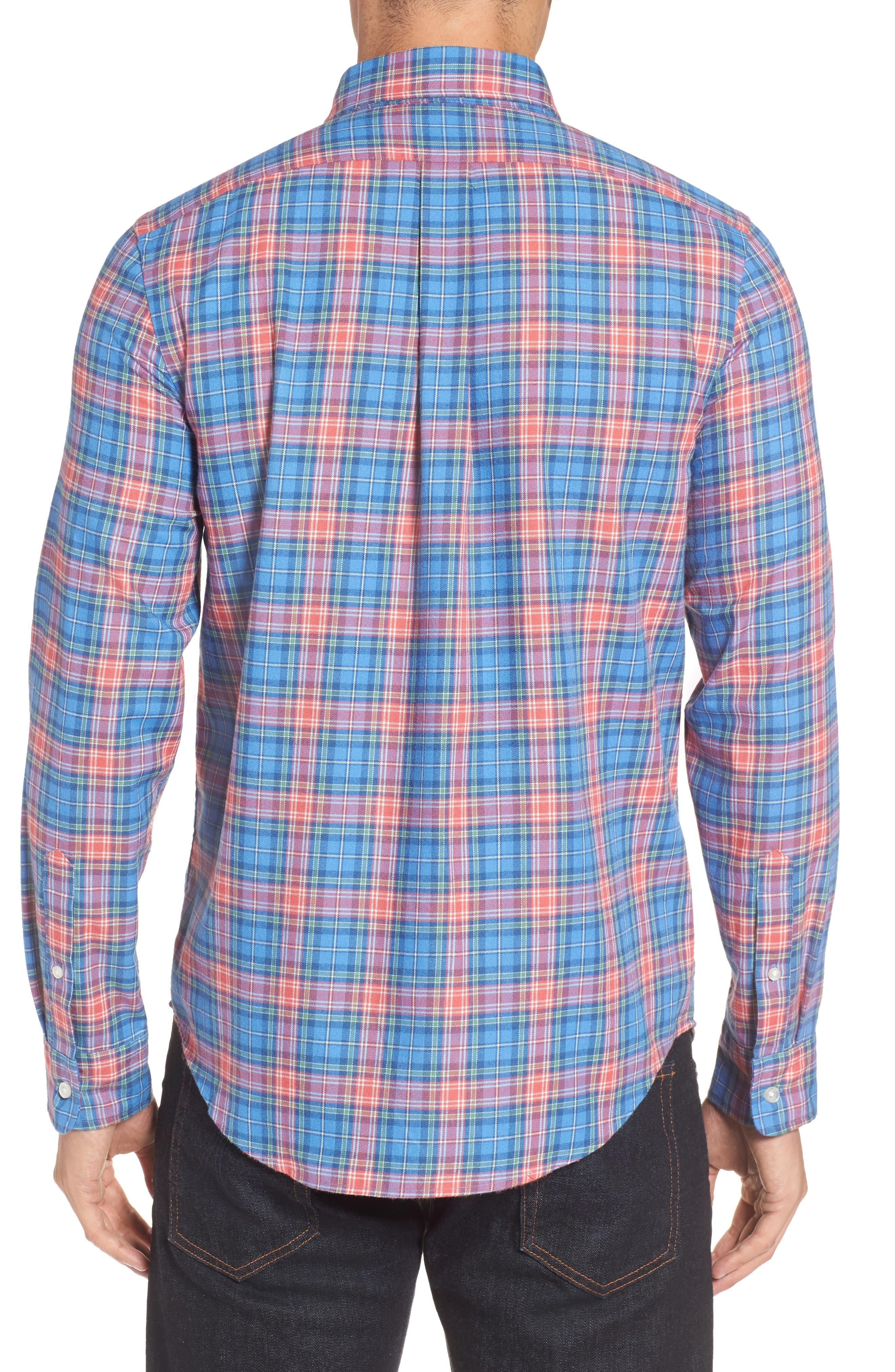 Kingsley Park Slim Fit Plaid Sport Shirt,                             Alternate thumbnail 2, color,                             Bimini Blue
