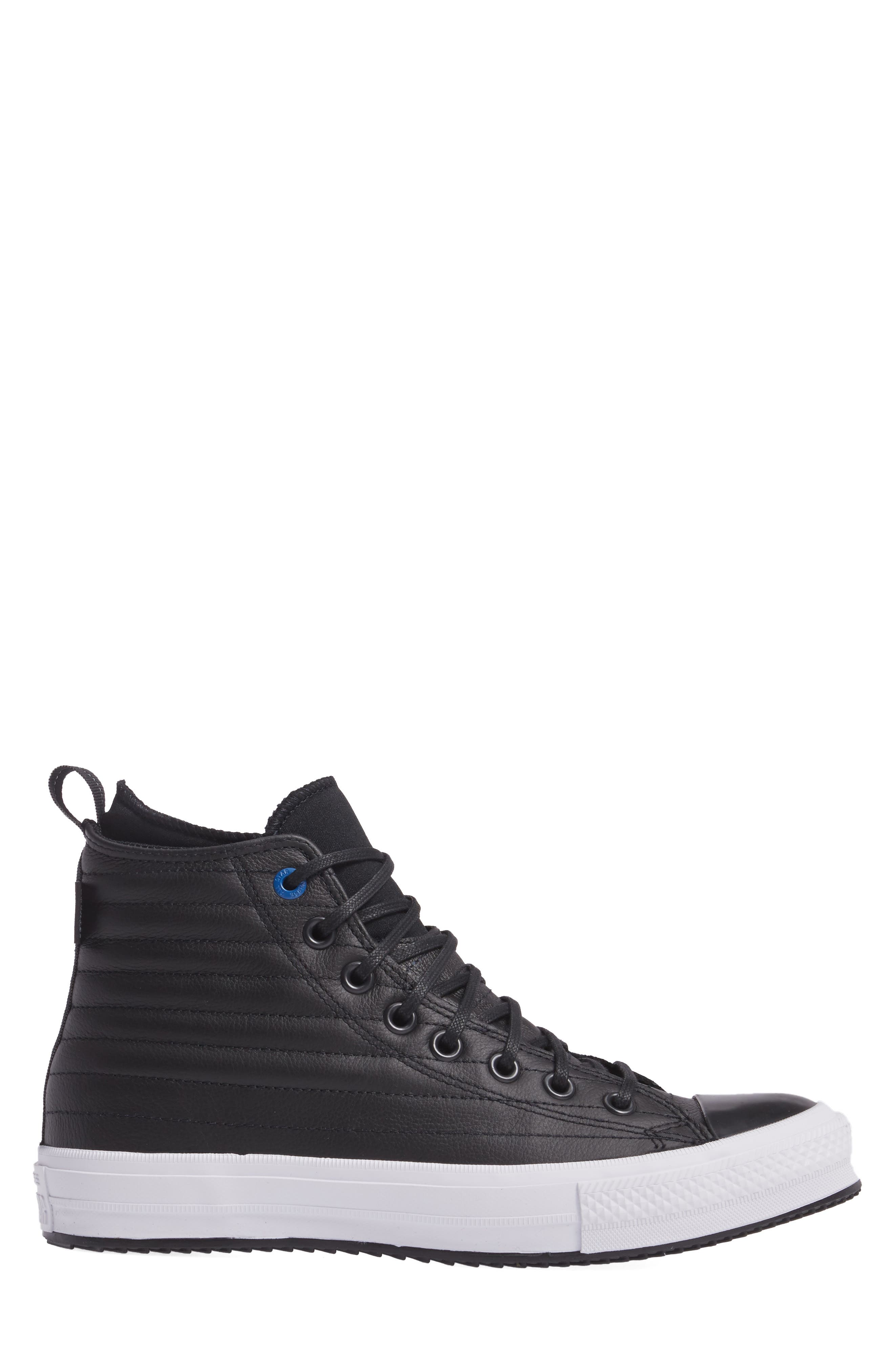 Chuck Taylor<sup>®</sup> All Star<sup>®</sup> Waterproof Quilted Sneaker,                             Alternate thumbnail 3, color,                             Black Leather