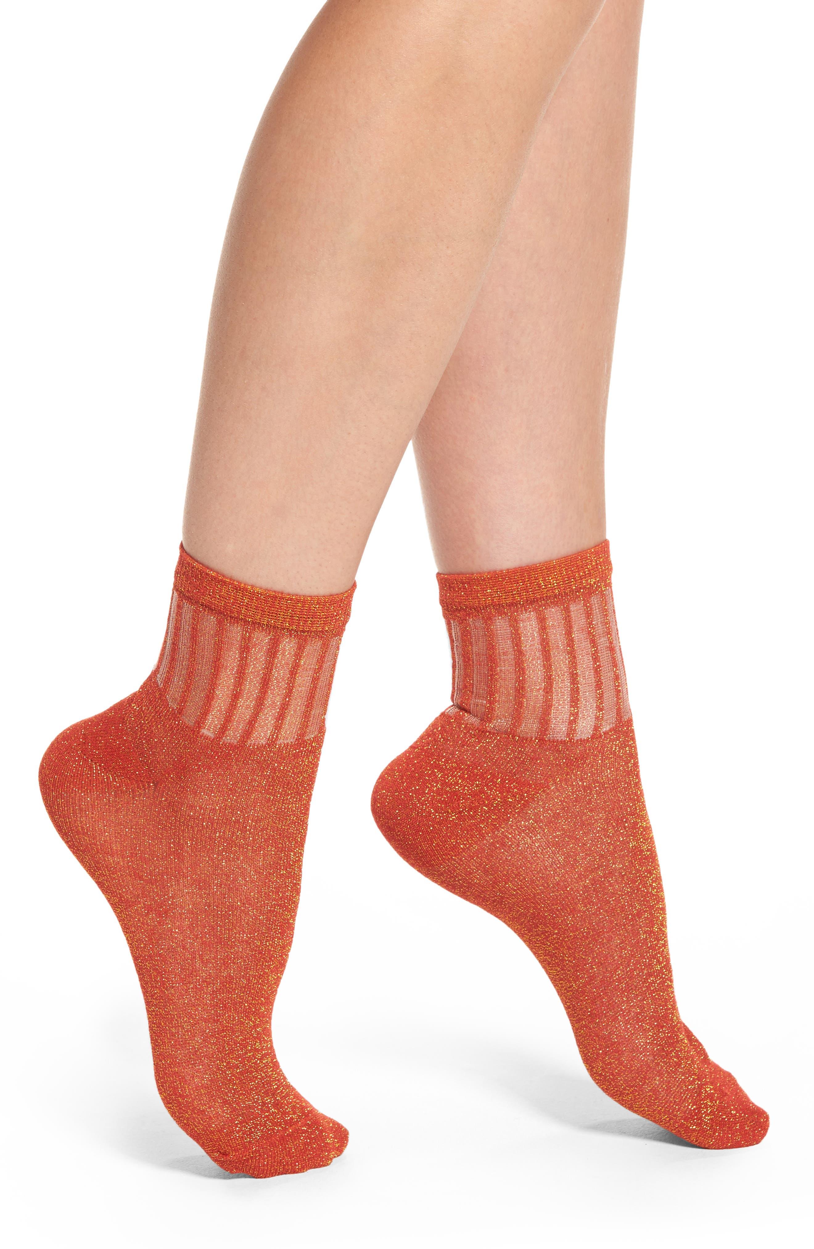 Main Image - Free People Roseland Metallic Ankle Socks