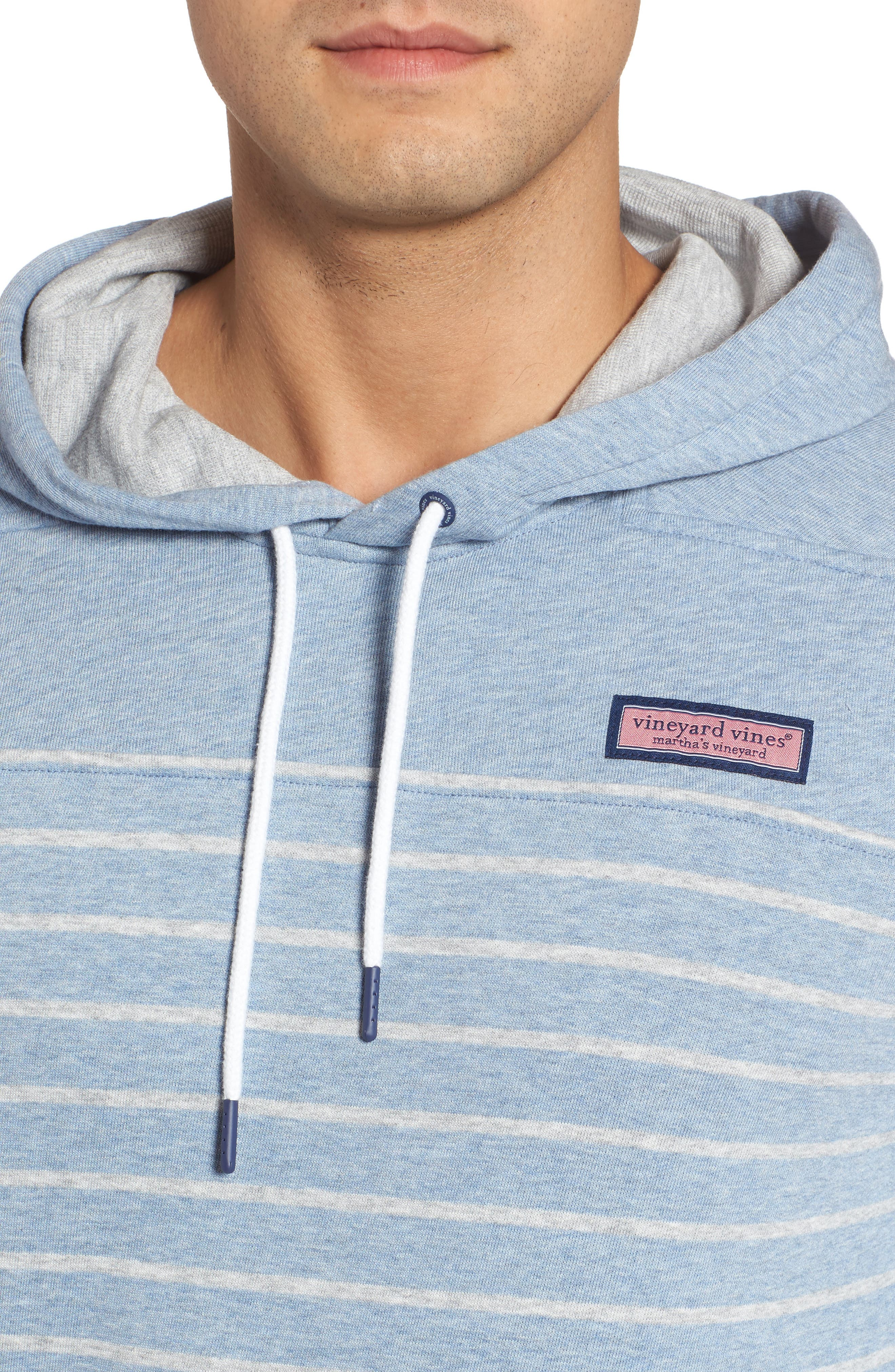 Stripe Washed Cotton Pullover Hoodie,                             Alternate thumbnail 4, color,                             Summer Evening