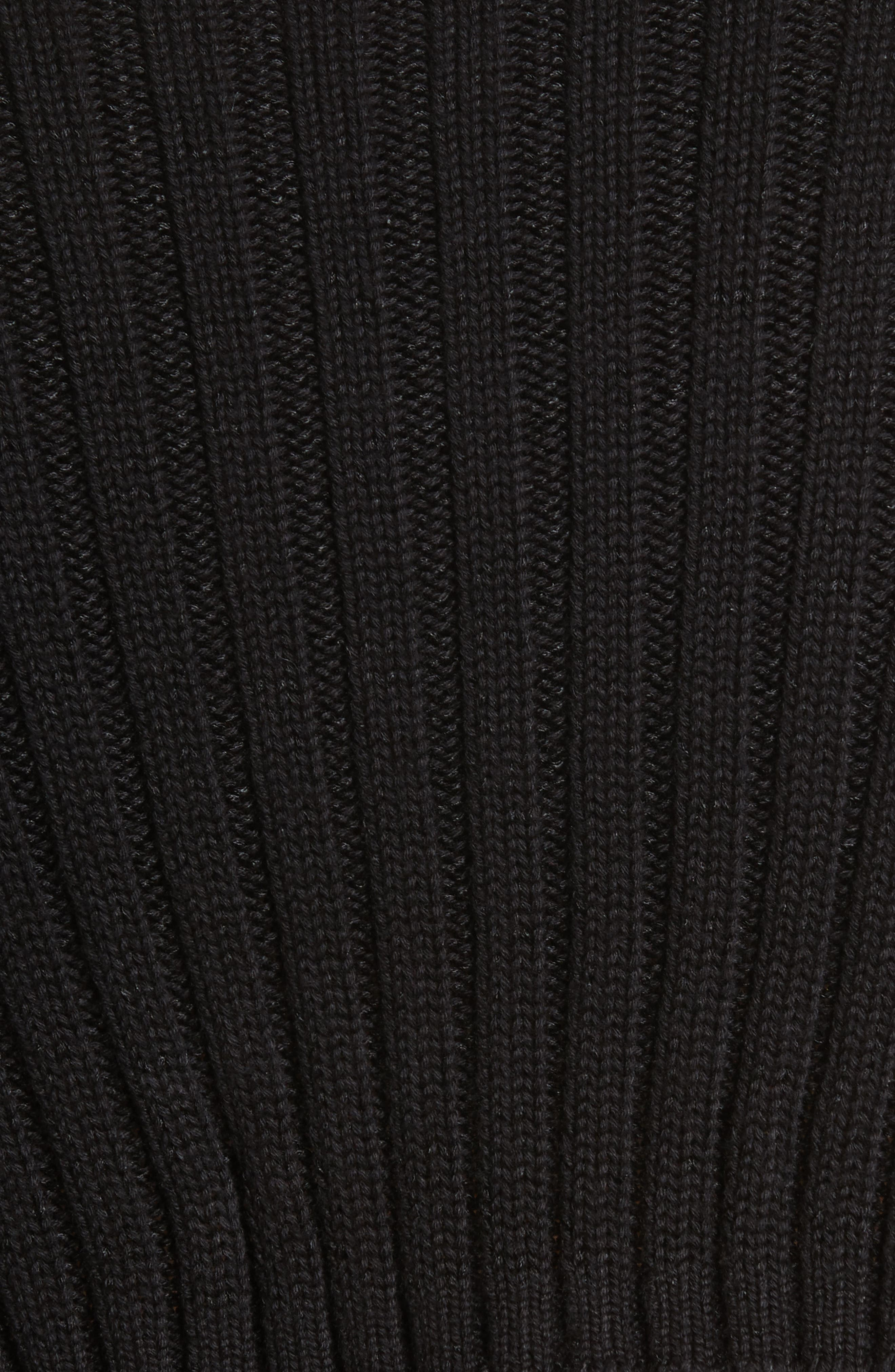 Rib Knit Cold Shoulder Dress,                             Alternate thumbnail 6, color,                             Black