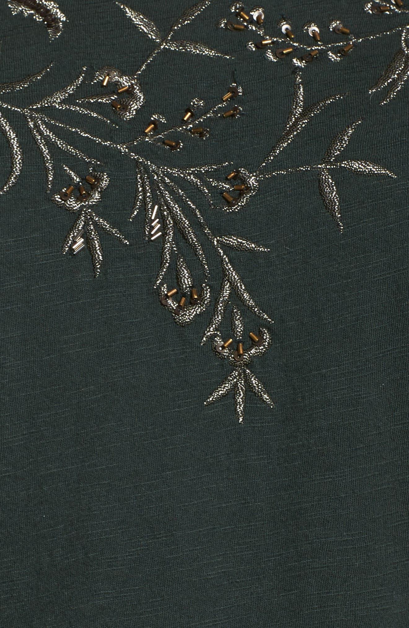 Floral Embellished Tee,                             Alternate thumbnail 5, color,                             Scarab