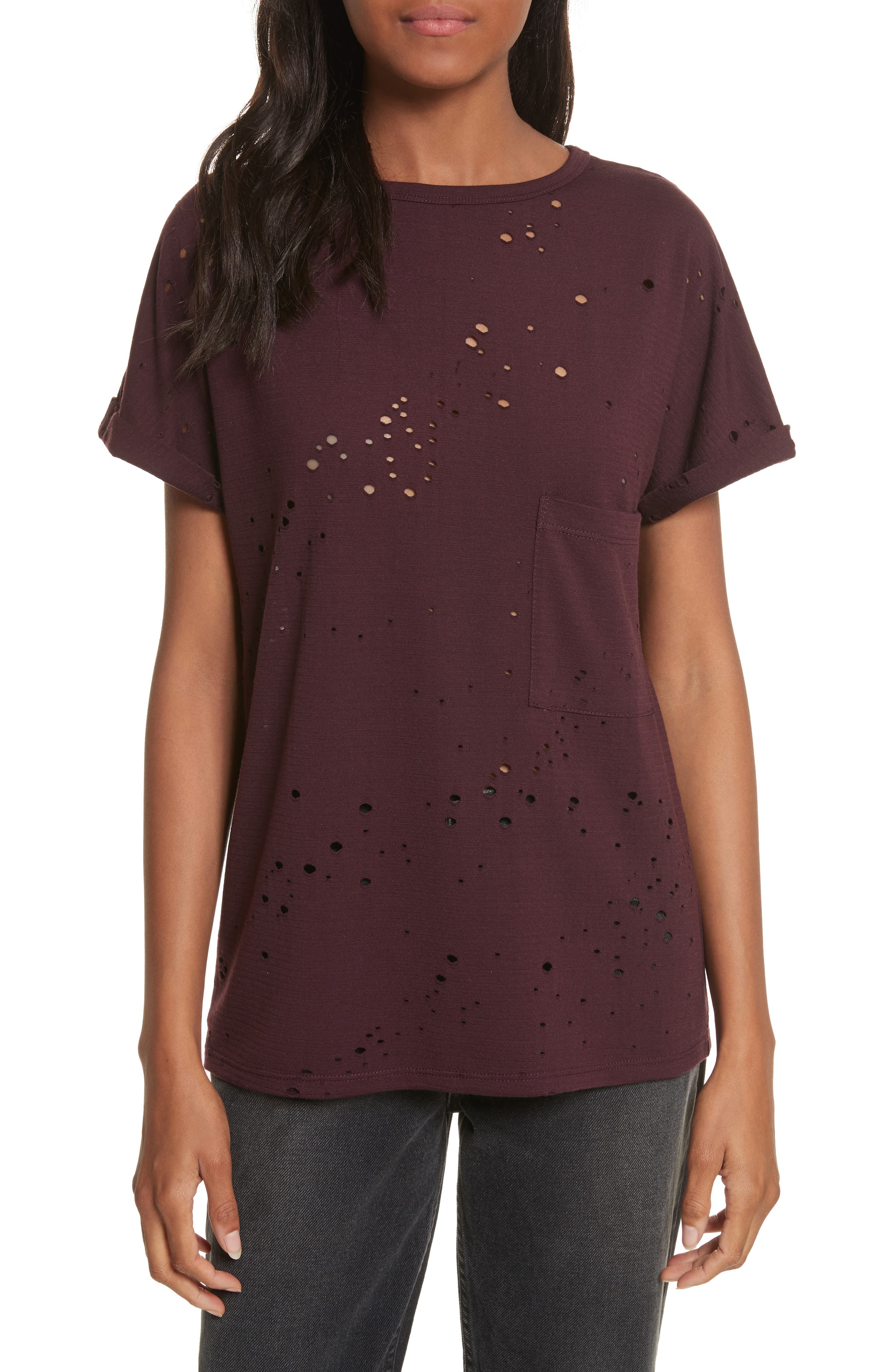Waverly Perforated Tee,                         Main,                         color, Mulberry