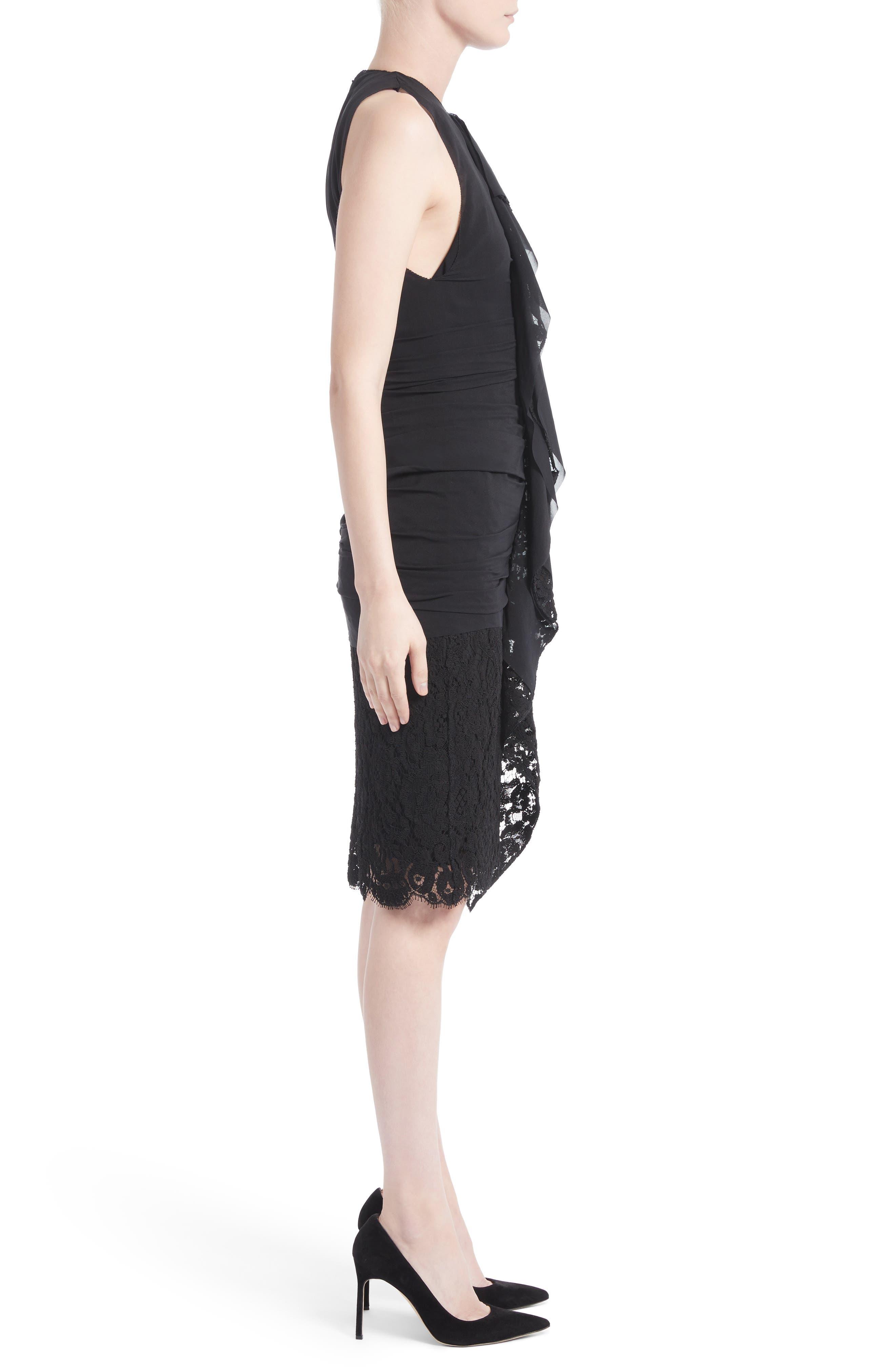 Ruffle Front Corded Lace Hem Dress,                             Alternate thumbnail 3, color,                             Black