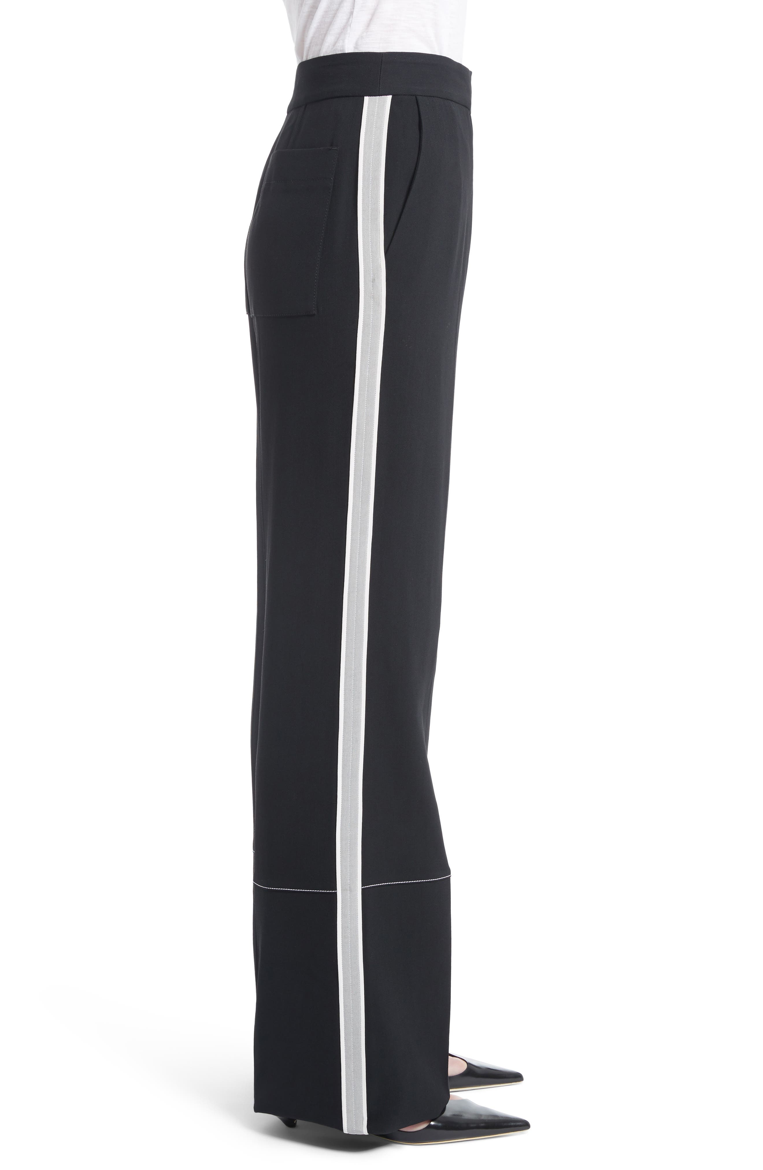 Racing Stripe Wide Leg Pants,                             Alternate thumbnail 4, color,                             Black
