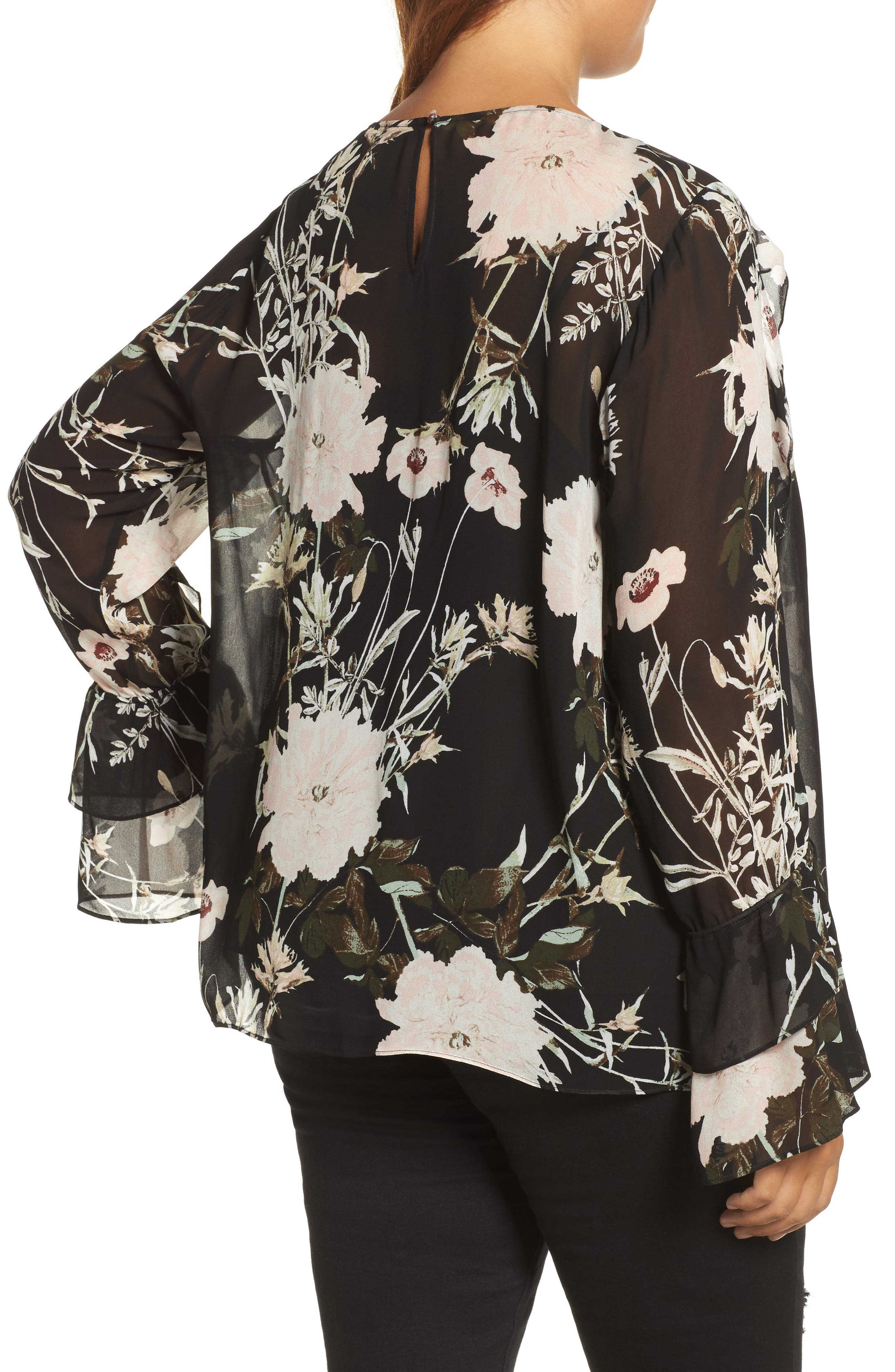 Alternate Image 2  - Lucky Brand Floral Print Bell Sleeve Top (Plus Size)