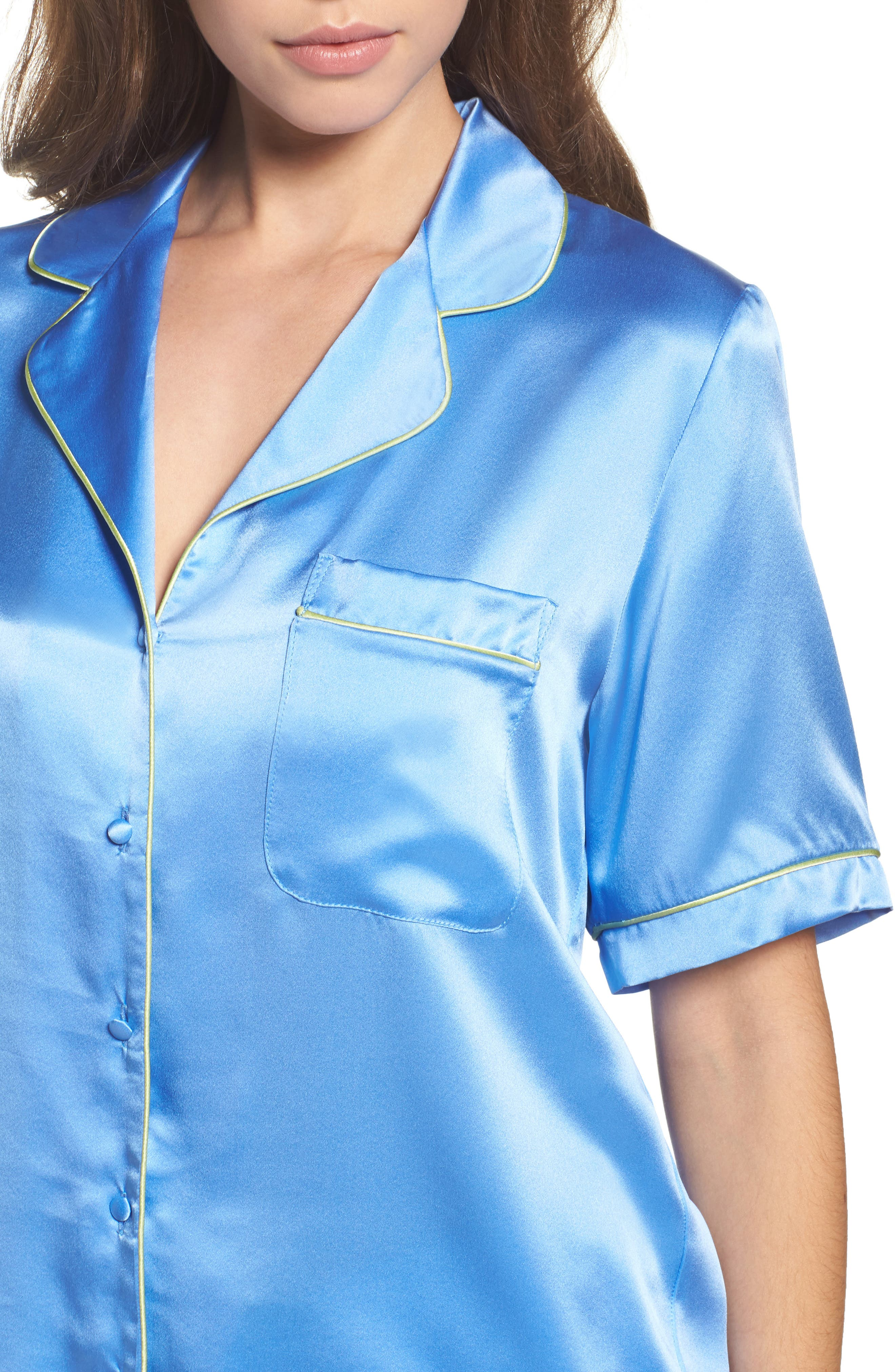 Silk Short Pajamas,                             Alternate thumbnail 4, color,                             Mediterranean Blue / Keylime