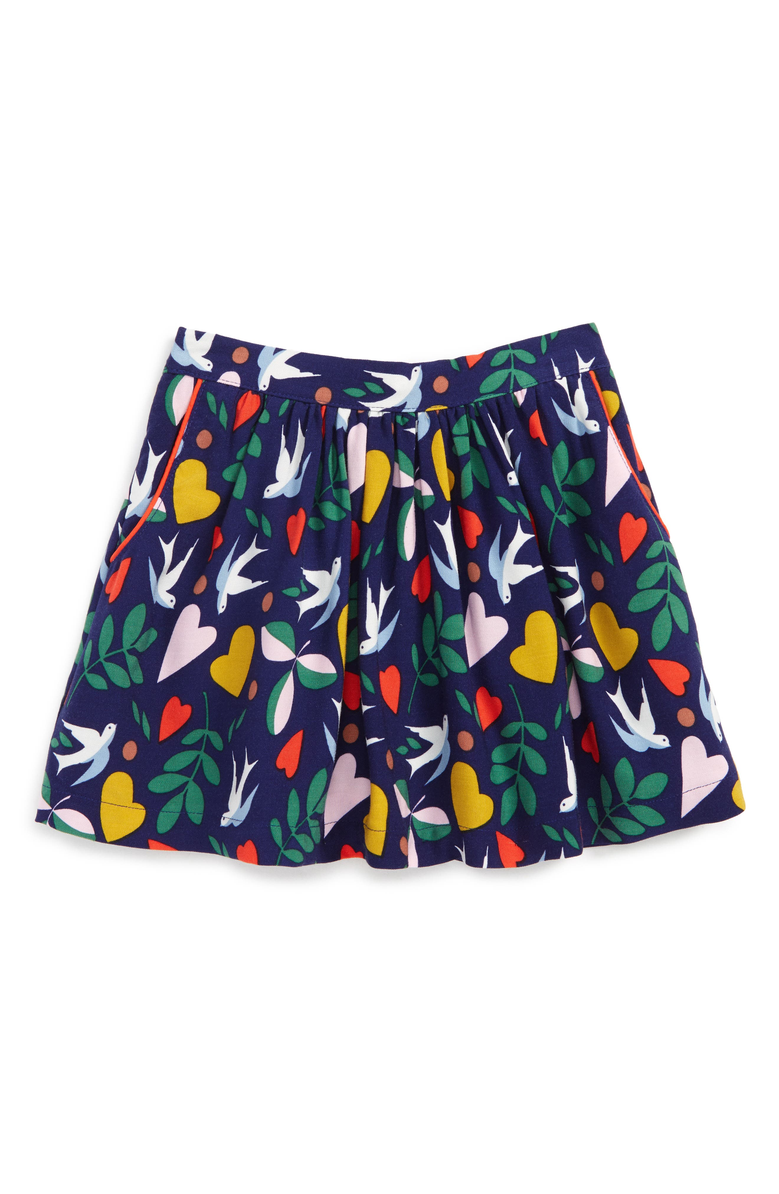 Print Twirly Skirt,                             Main thumbnail 1, color,                             Dark Blue Birds
