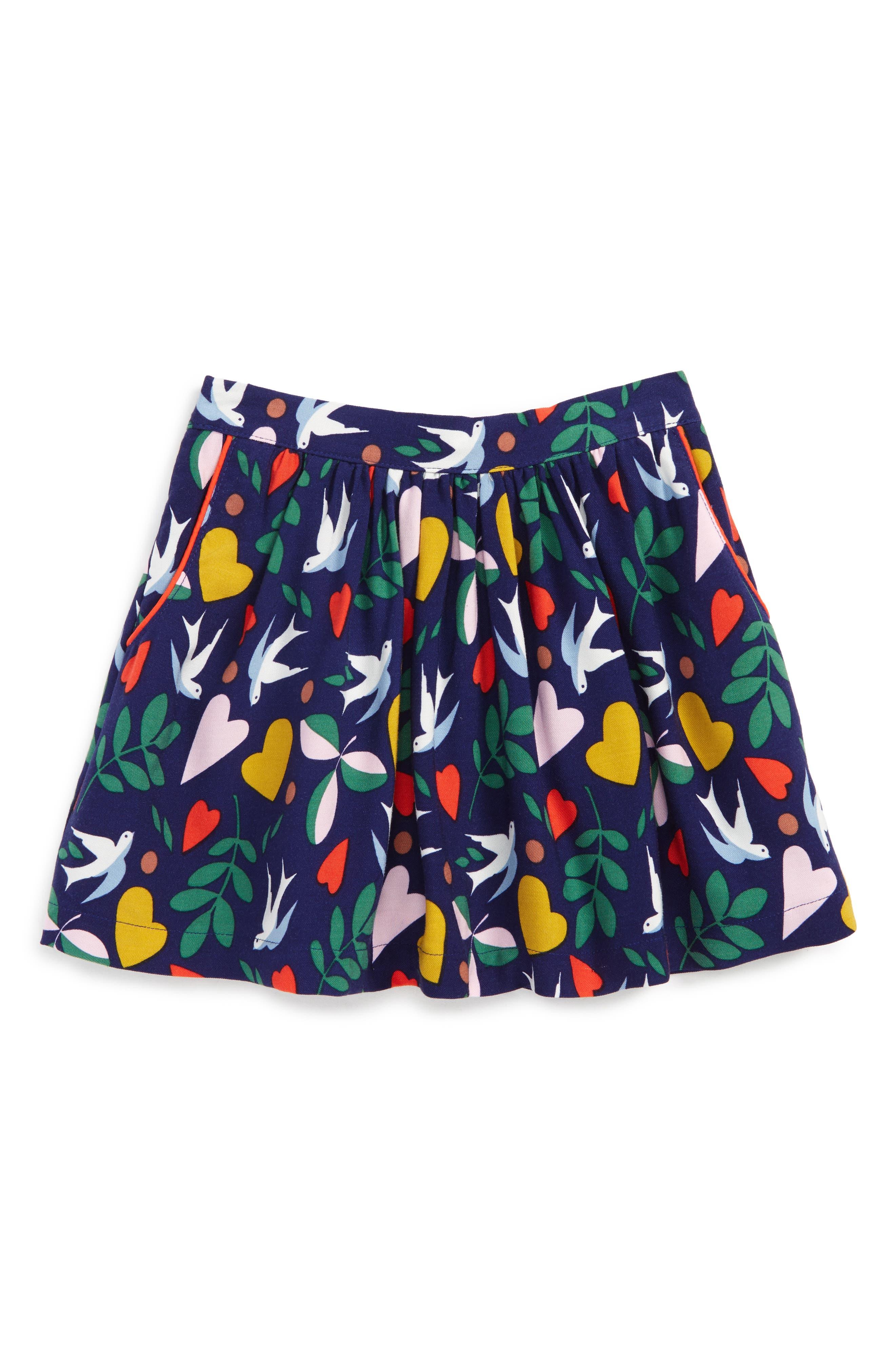 Print Twirly Skirt,                         Main,                         color, Dark Blue Birds