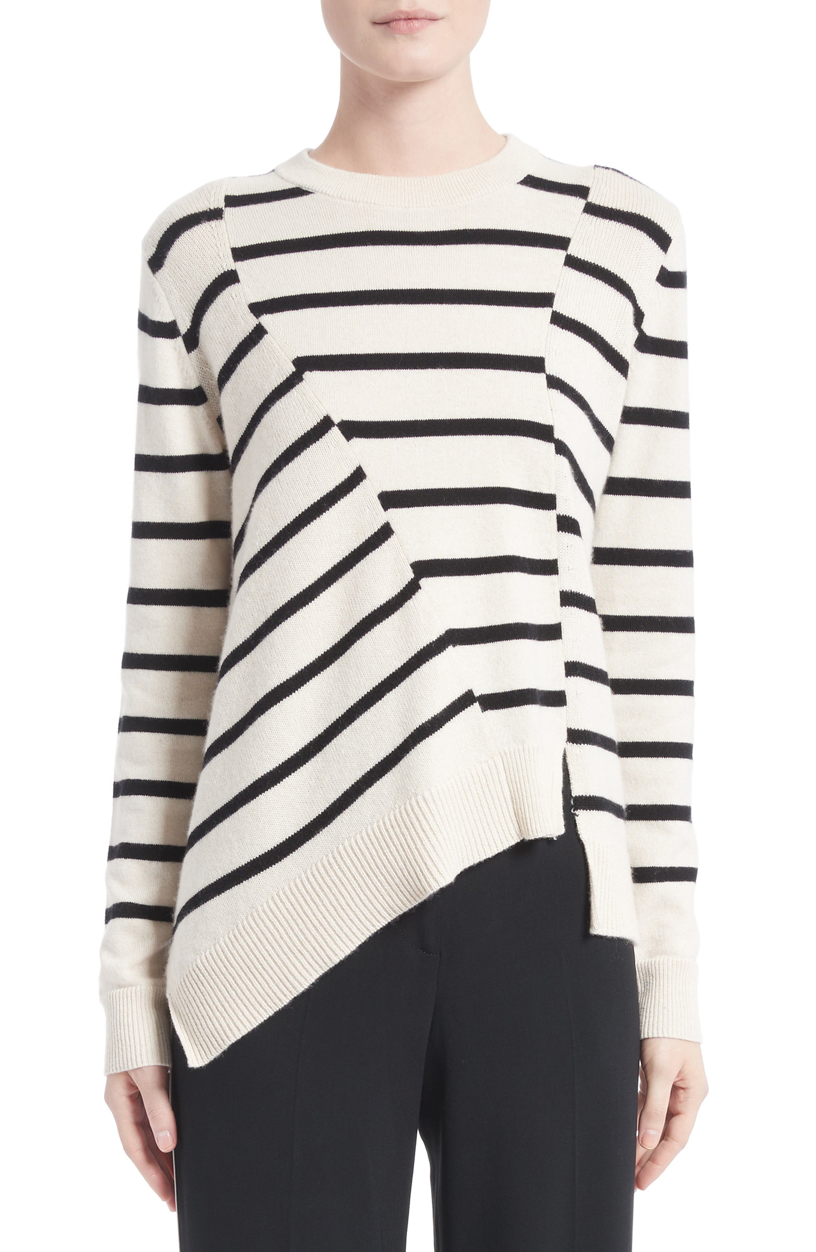 Alternate Image 1 Selected - Proenza Schouler Cotton & Cashmere Asymmetrical Stripe Sweater