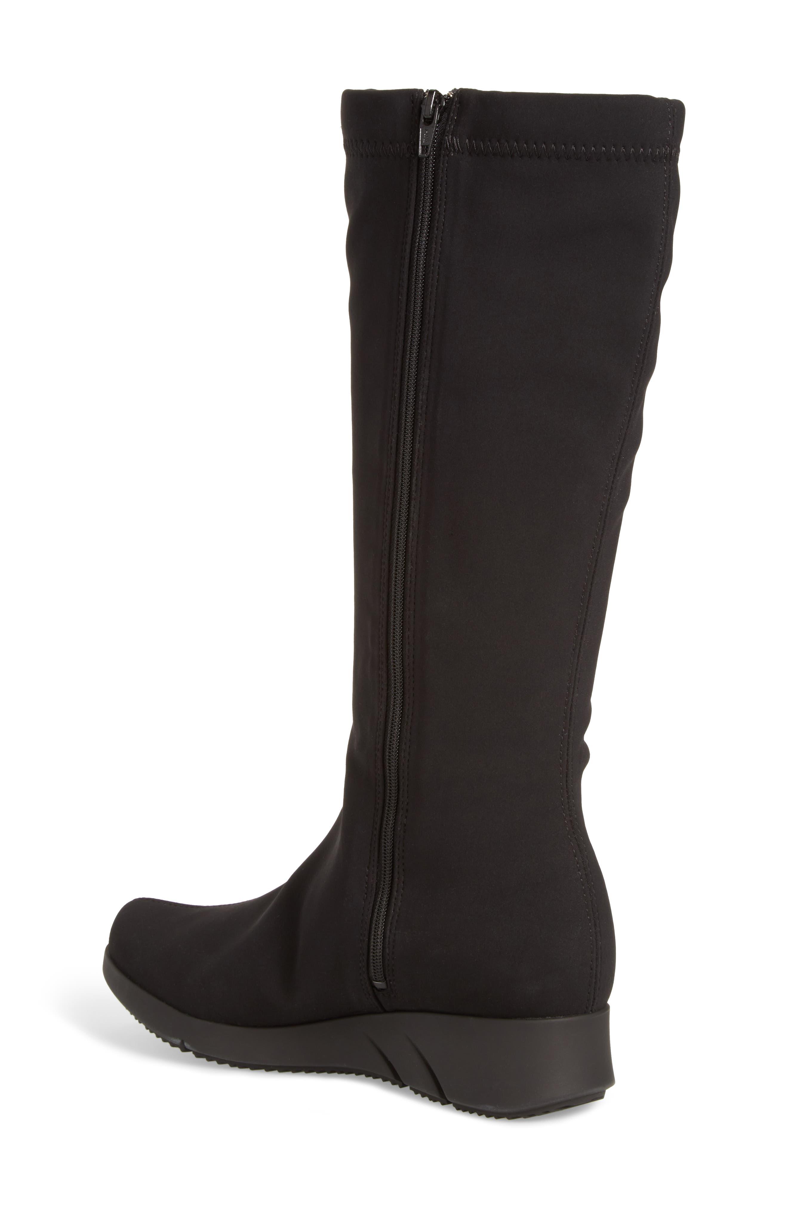 Minda Waterproof Wedge Boot,                             Alternate thumbnail 2, color,                             Black Fabric