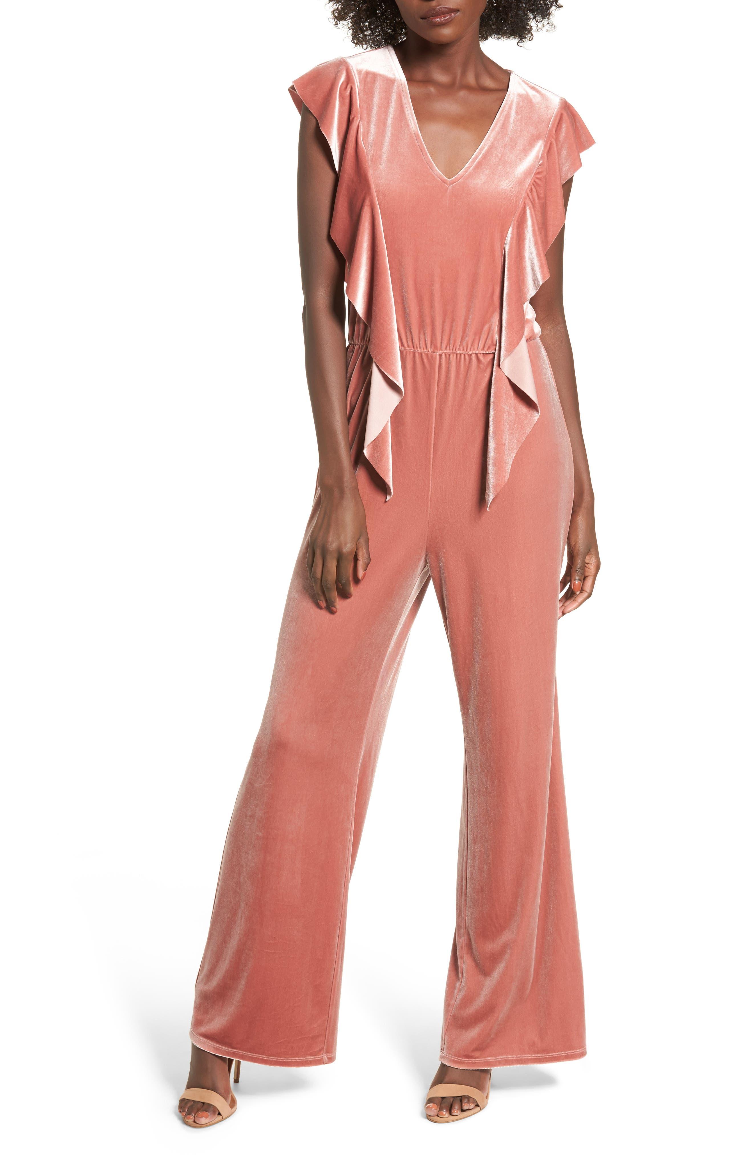 Ruffle Velour Jumpsuit,                         Main,                         color, Coral Cedar