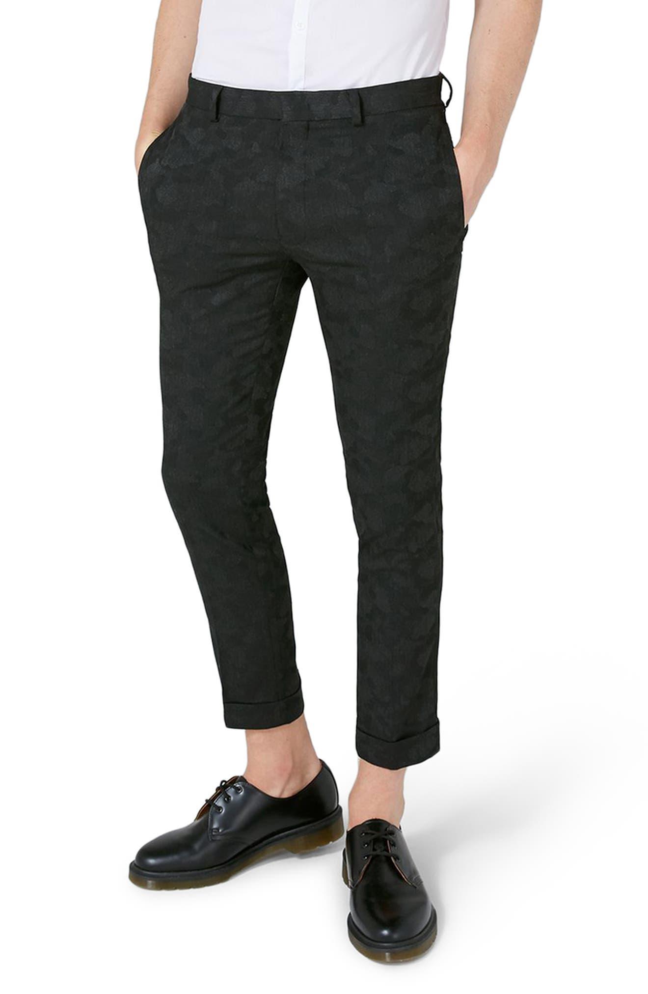 Topman Shadow Camo Ultra Skinny Suit Trousers