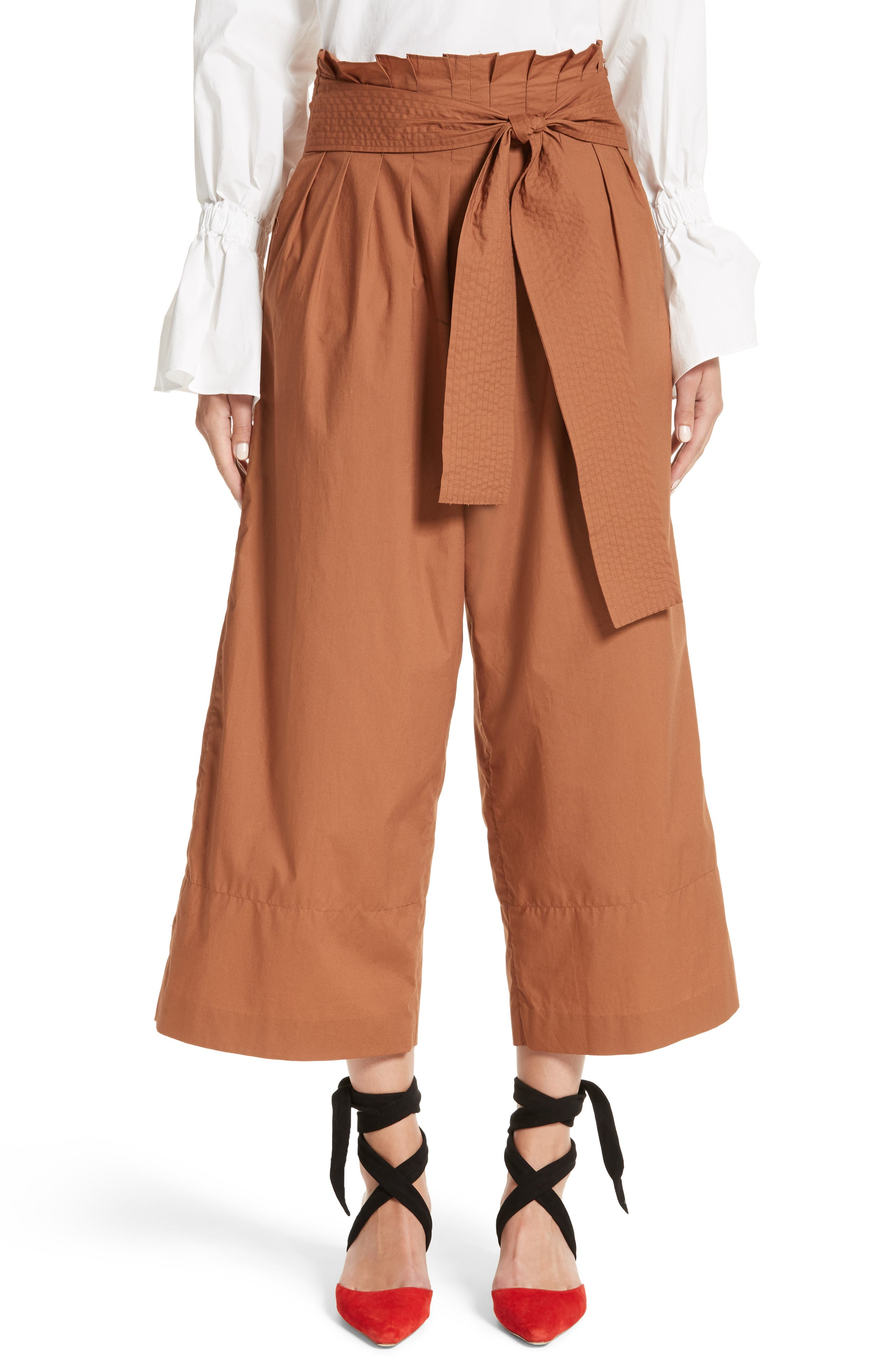 Wide Leg Belted Paperbag Pants,                             Main thumbnail 1, color,                             Cotton Poplin Hazelnut Brown