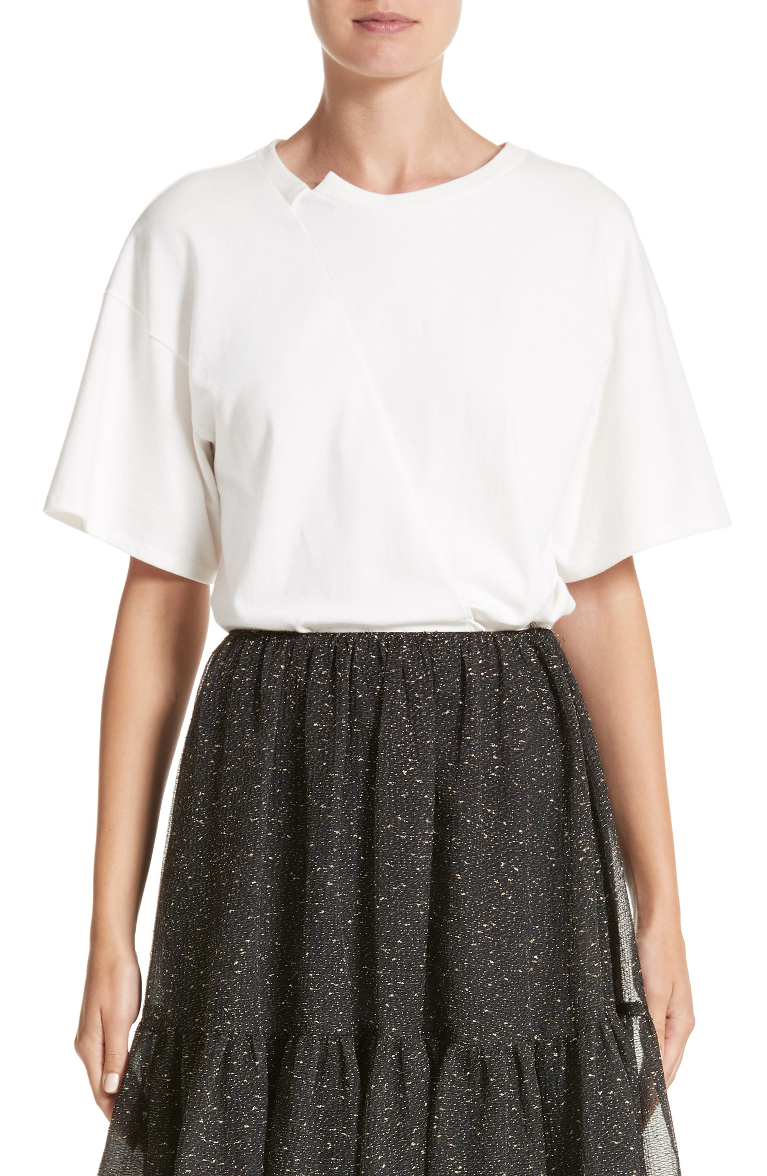 Asymmetrical Side Pleat Tee,                         Main,                         color, Knit Jersey Off-White