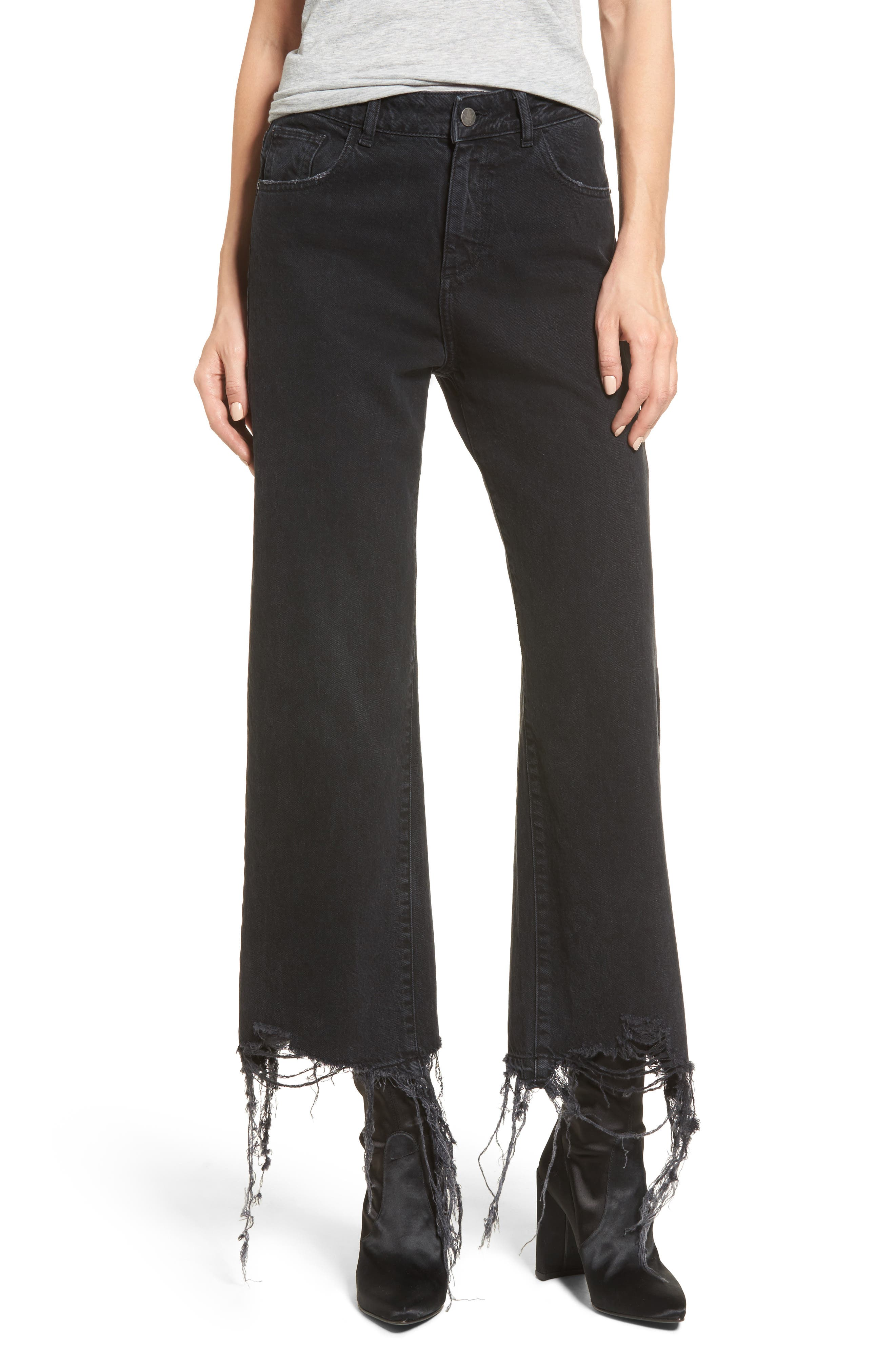 Main Image - DL1961 Hepburn High Waist Wide Leg Jeans (Savannah Destroy)