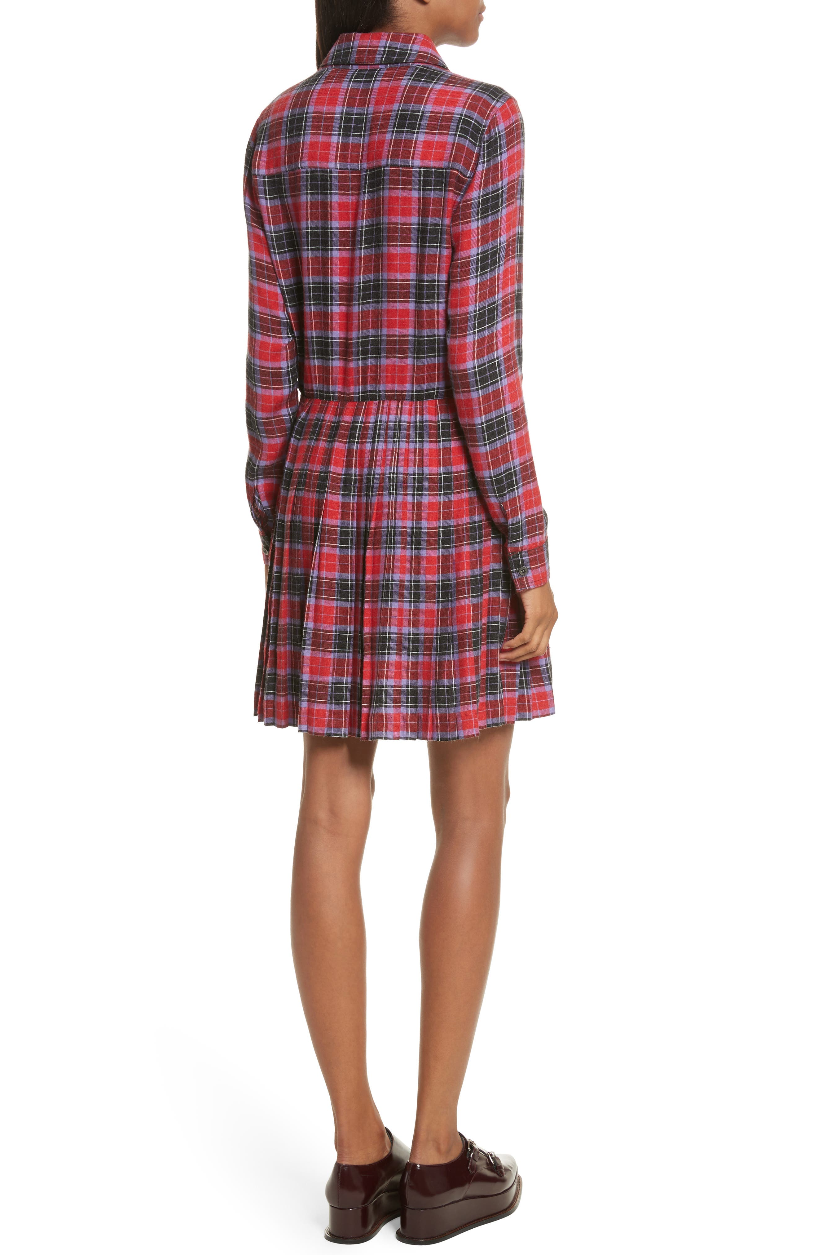 Flannel Kilt Dress,                             Alternate thumbnail 2, color,                             Jewel Red Multi