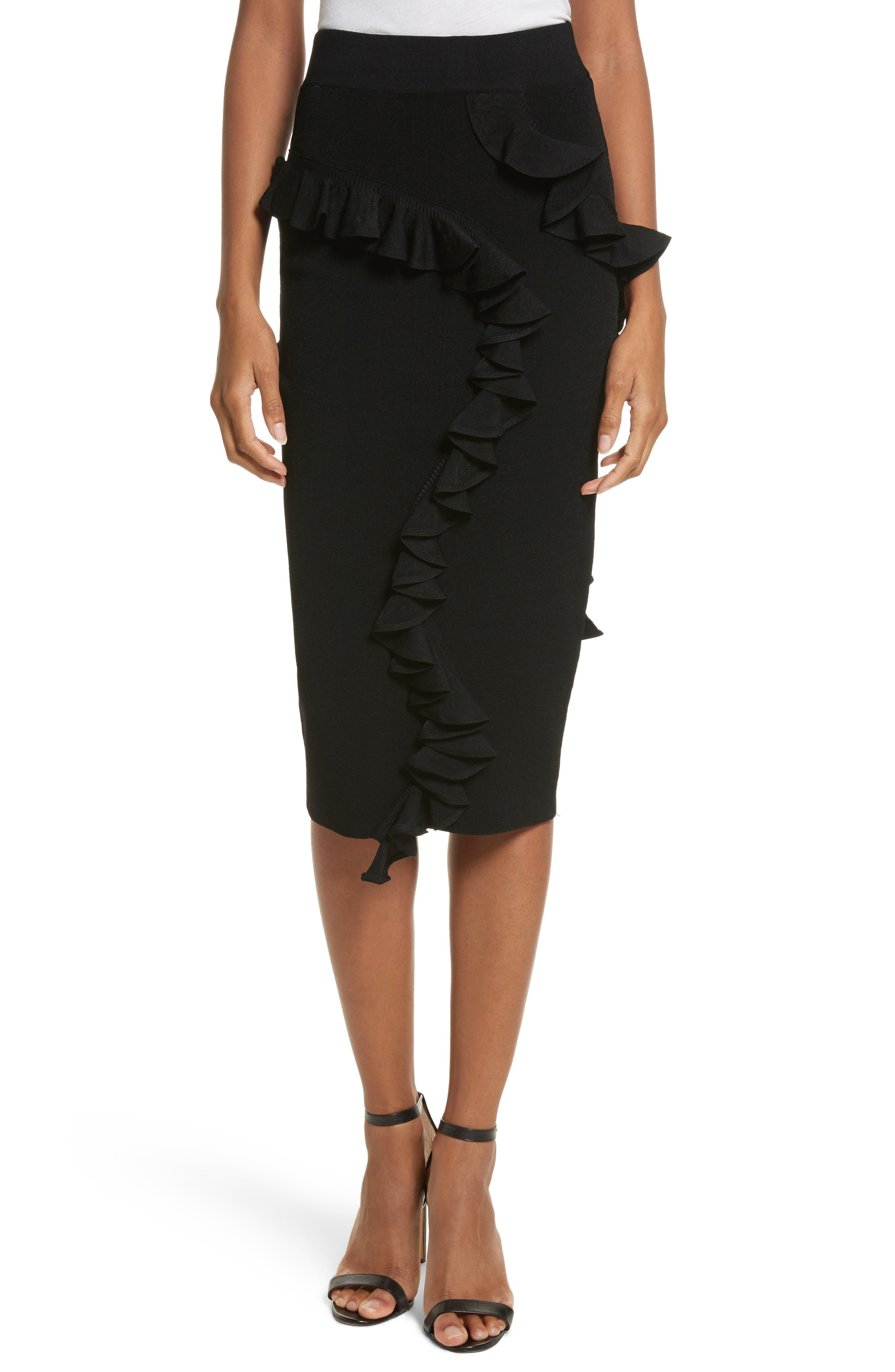 Abstract Ruffle Skirt,                         Main,                         color, Black