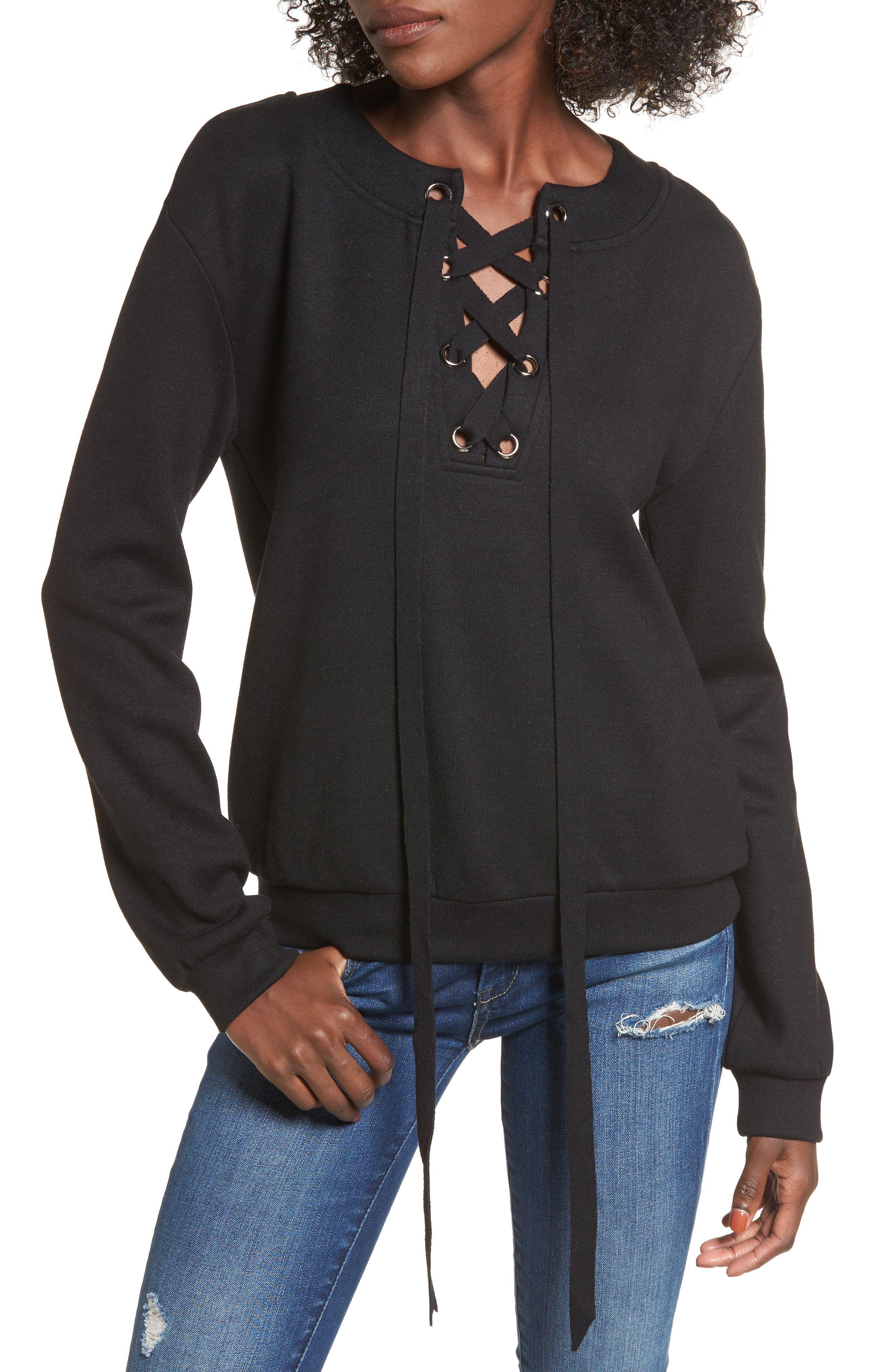 Lace-Up Sweatshirt,                         Main,                         color, Black