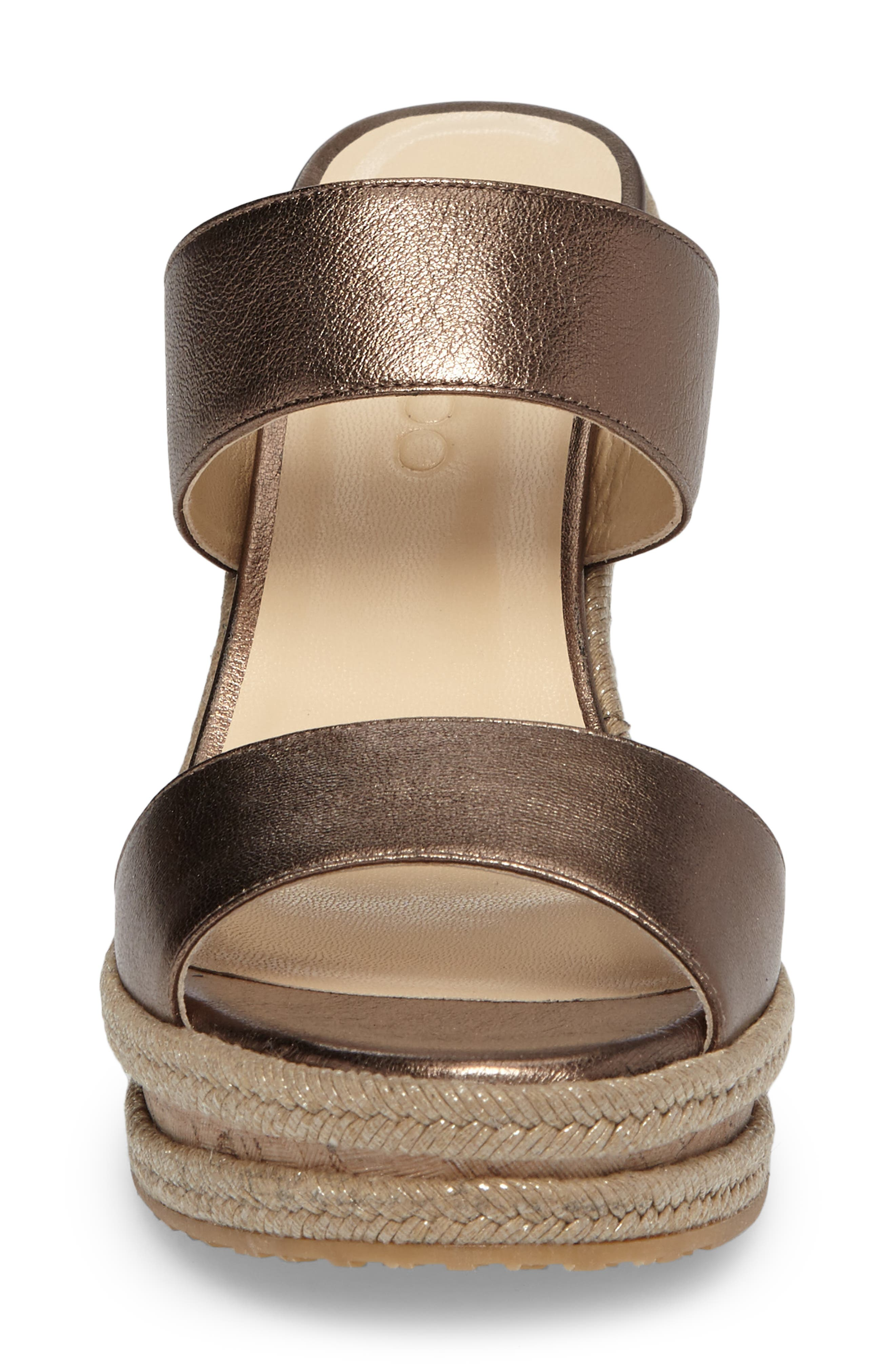 Parker Wedge Sandal,                             Alternate thumbnail 4, color,                             Antique Gold