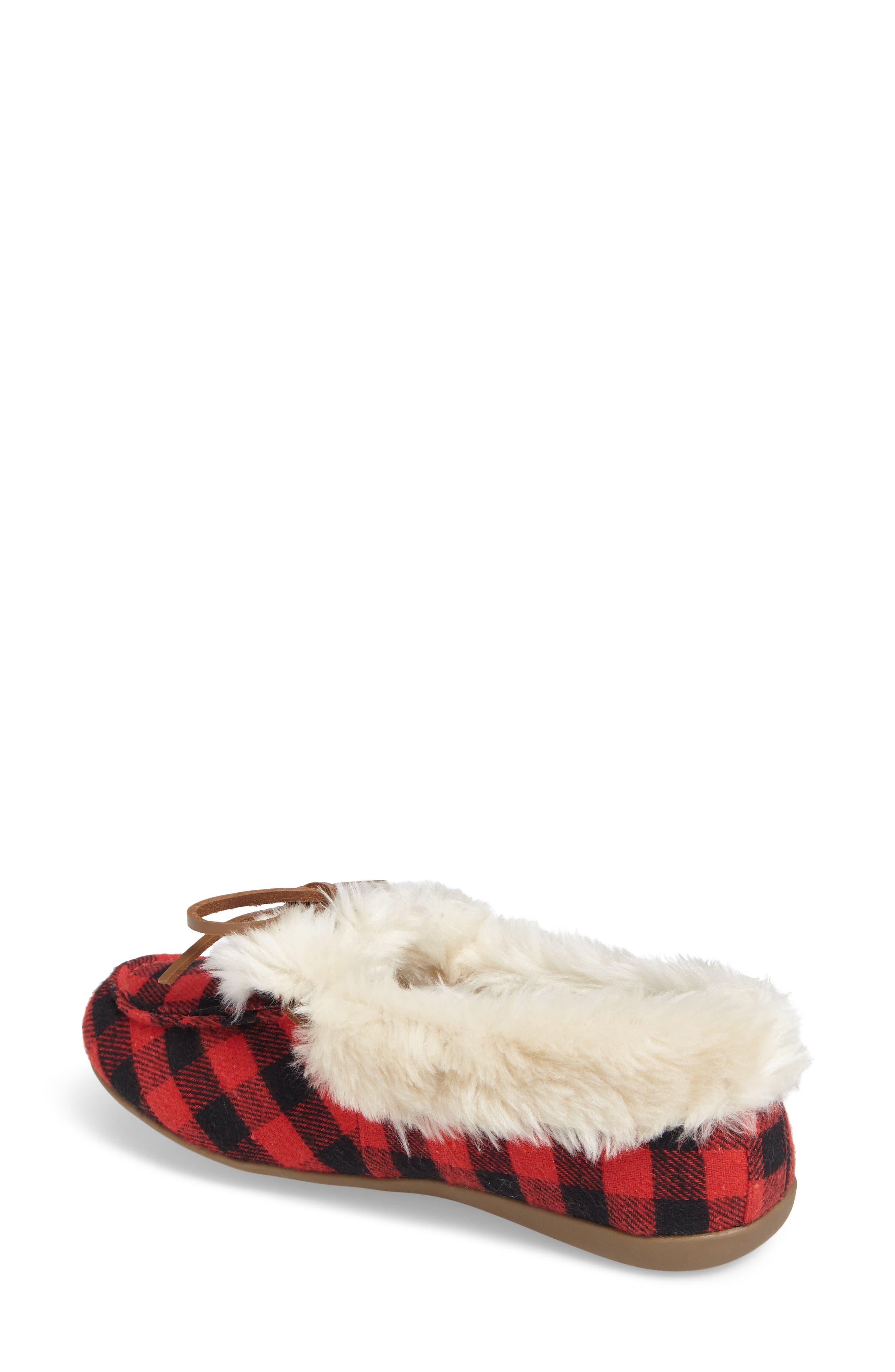 Juniper Faux Fur Slipper,                             Alternate thumbnail 2, color,                             Black Red Textile