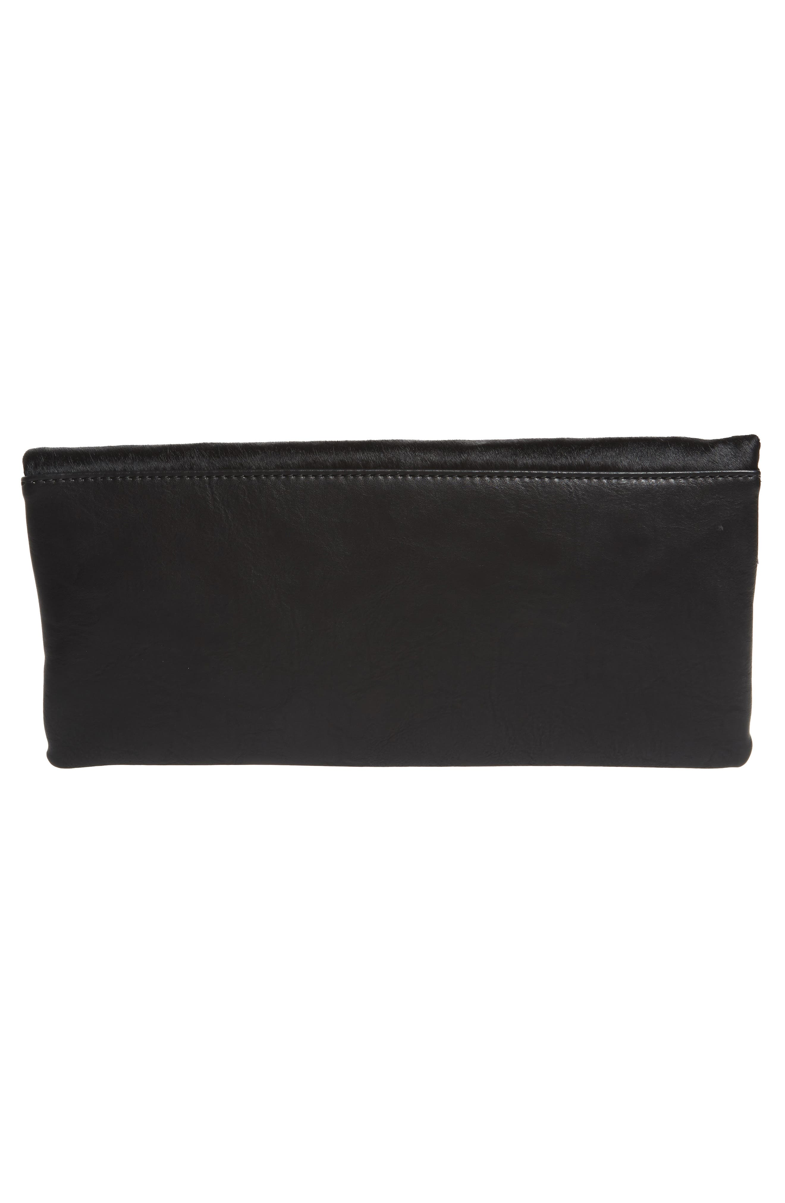 Tammi Genuine Calf Hair & Faux Leather Foldover Clutch,                             Alternate thumbnail 2, color,                             Black