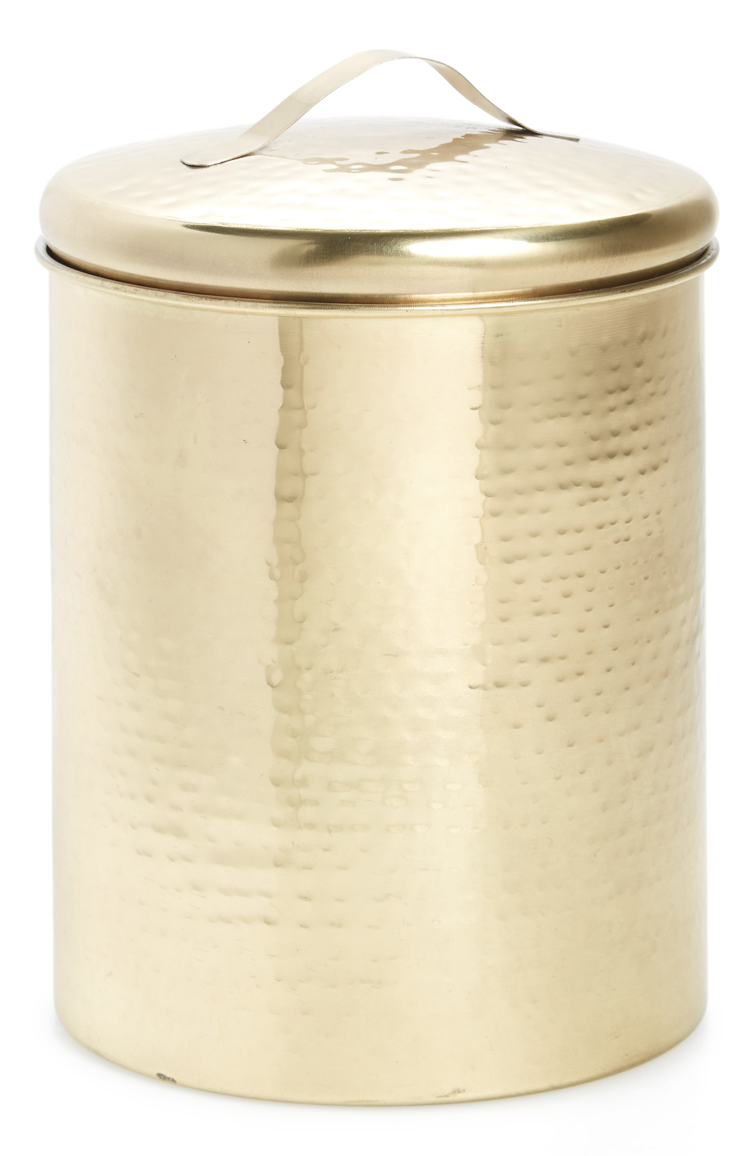 Medium Hammered Goldtone Canister,                             Main thumbnail 1, color,                             Gold