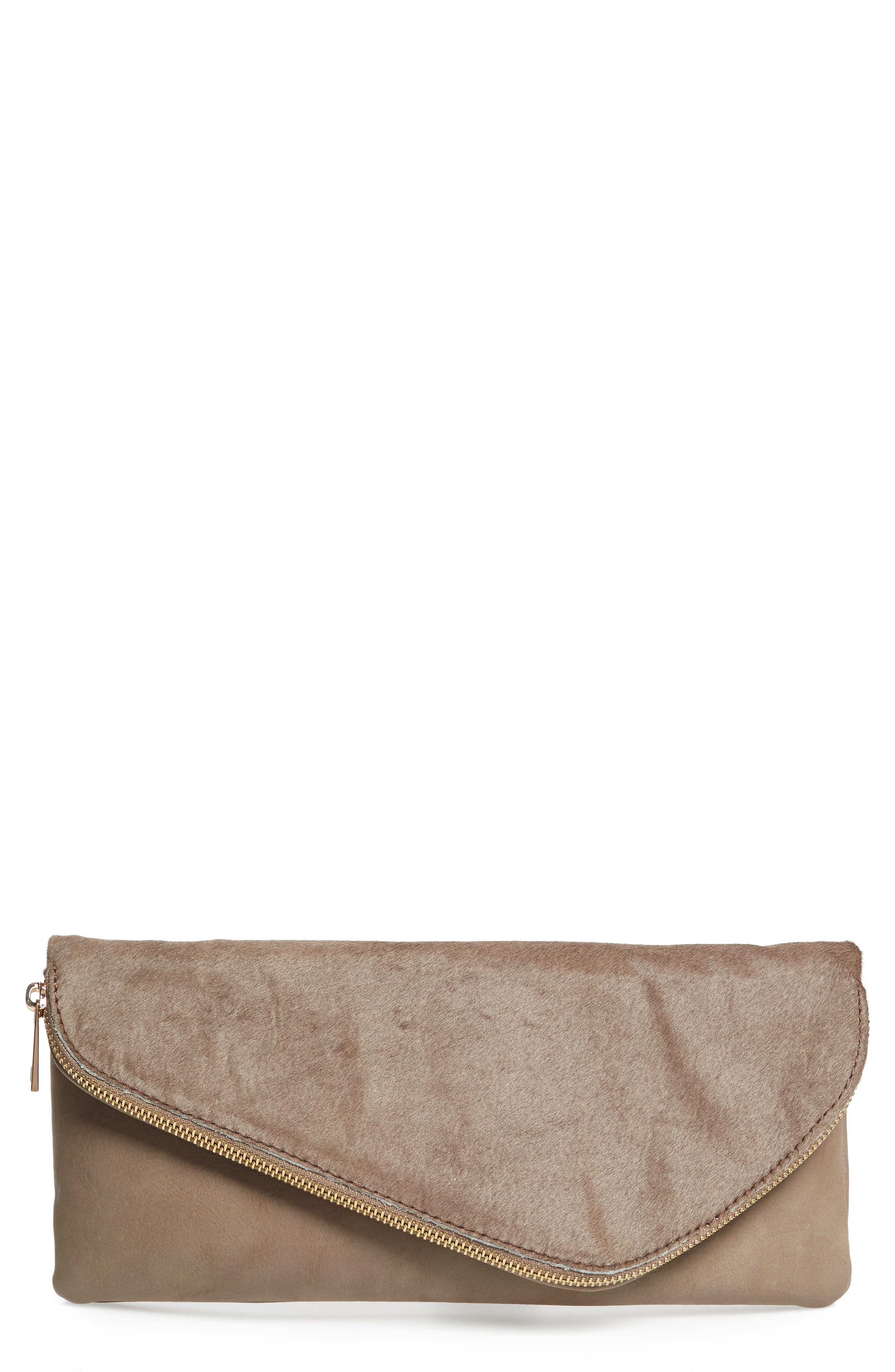 Tammi Genuine Calf Hair & Faux Leather Foldover Clutch,                         Main,                         color, Taupe