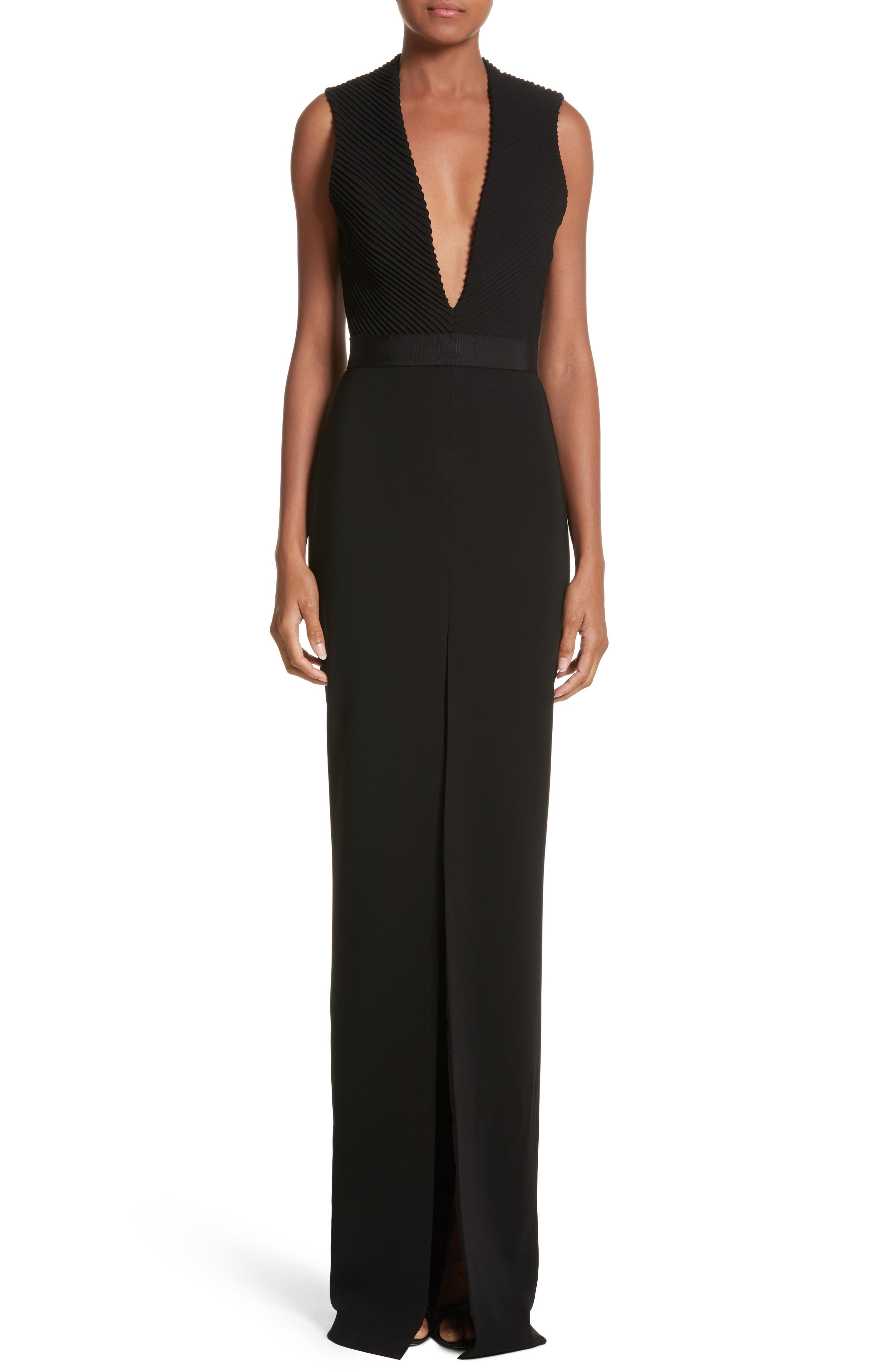 Plunging Silk Crepe Gown,                         Main,                         color, Black