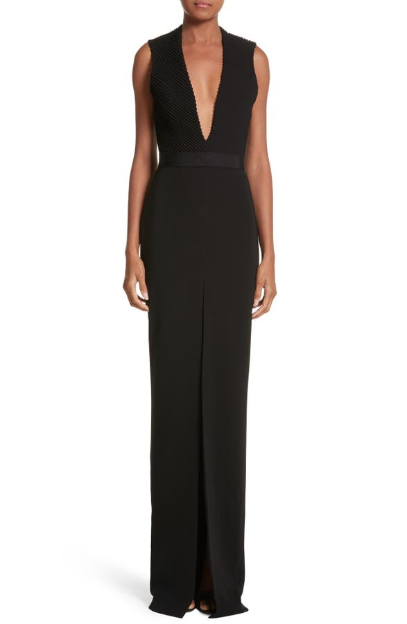 Brandon Maxwell Plunging Silk Crepe Gown   Nordstrom