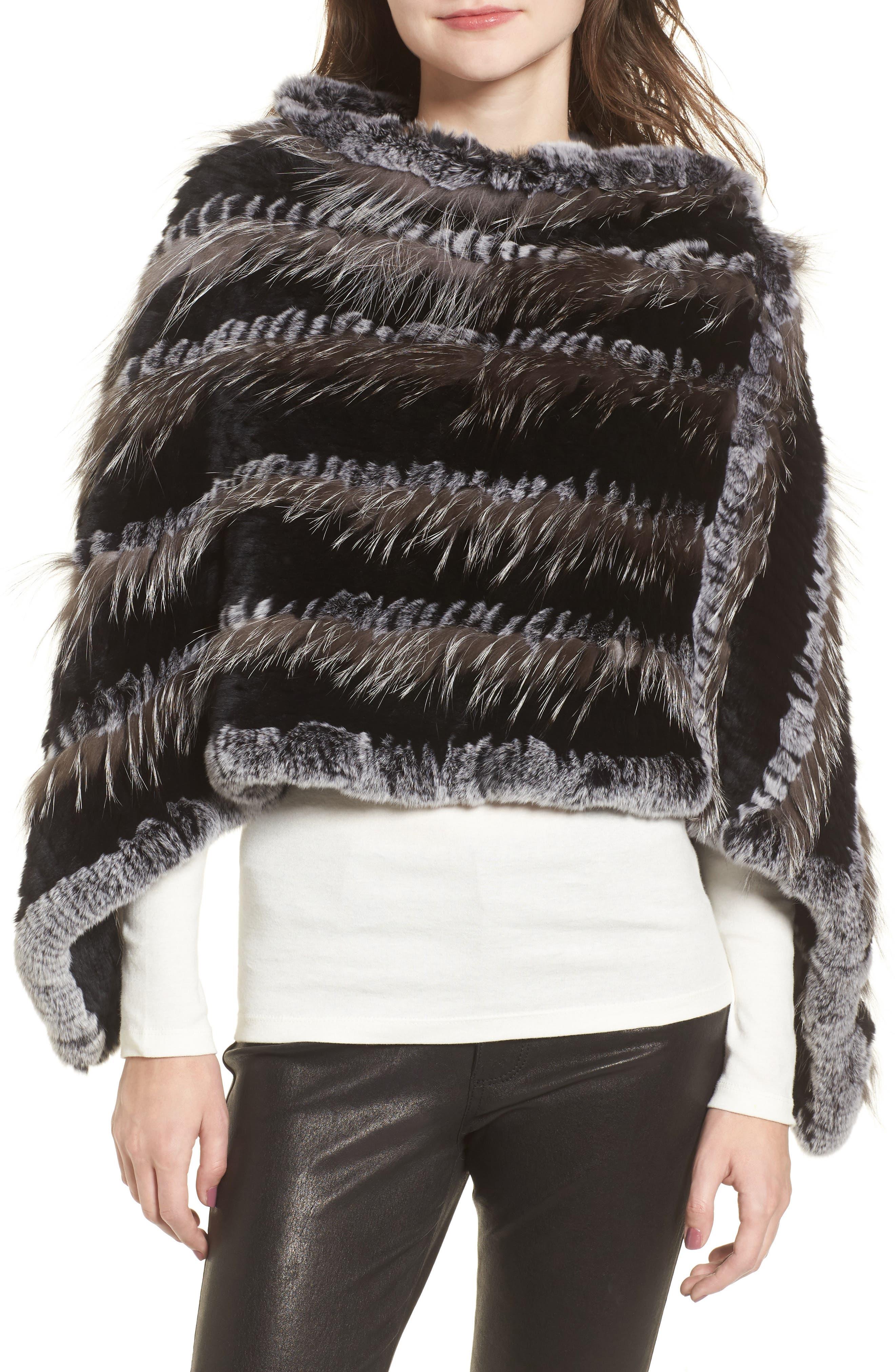 Genuine Fox & Rabbit Fur Poncho,                         Main,                         color, Natural