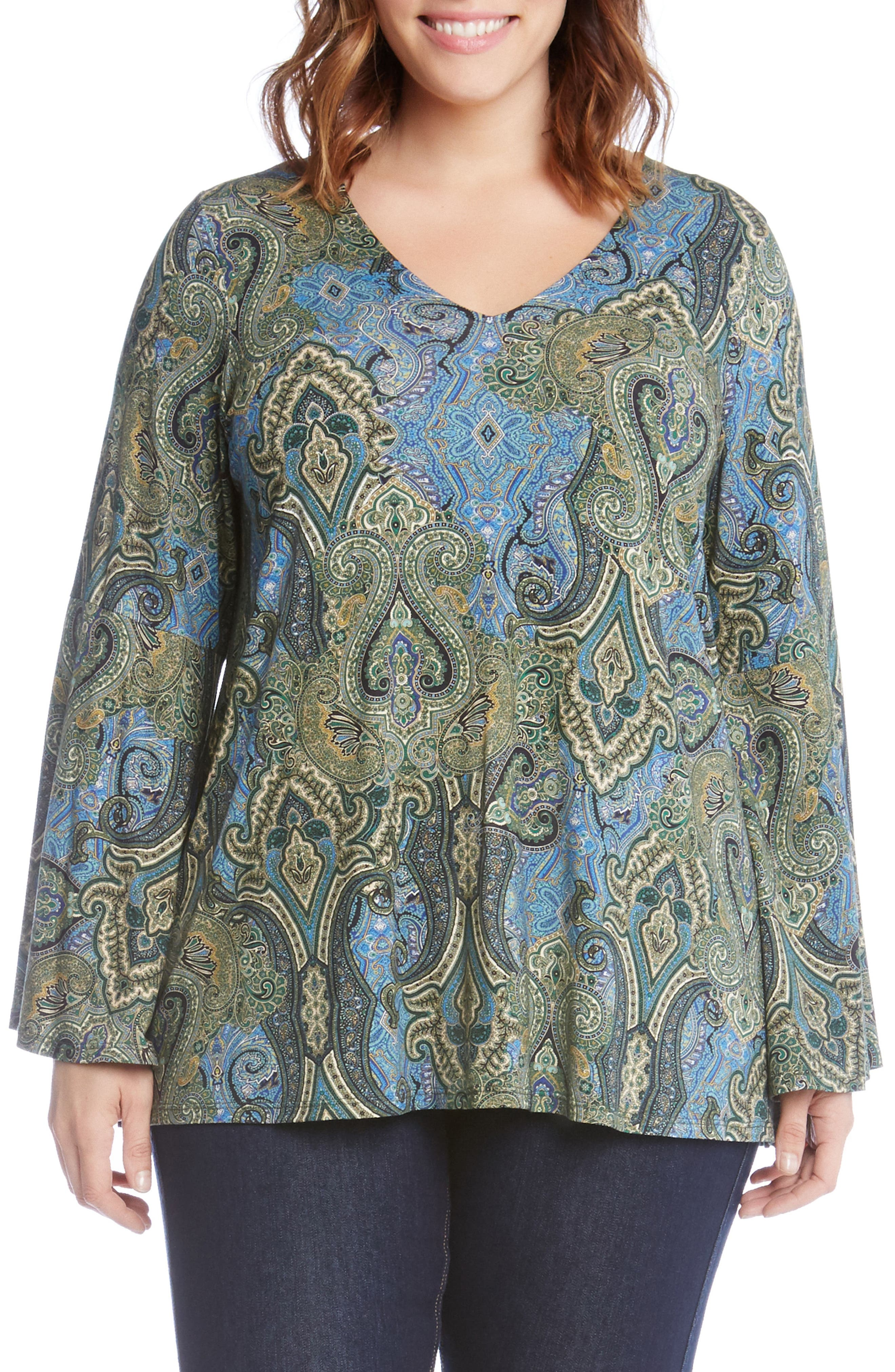 Bell Sleeve Paisley Top,                         Main,                         color, Green