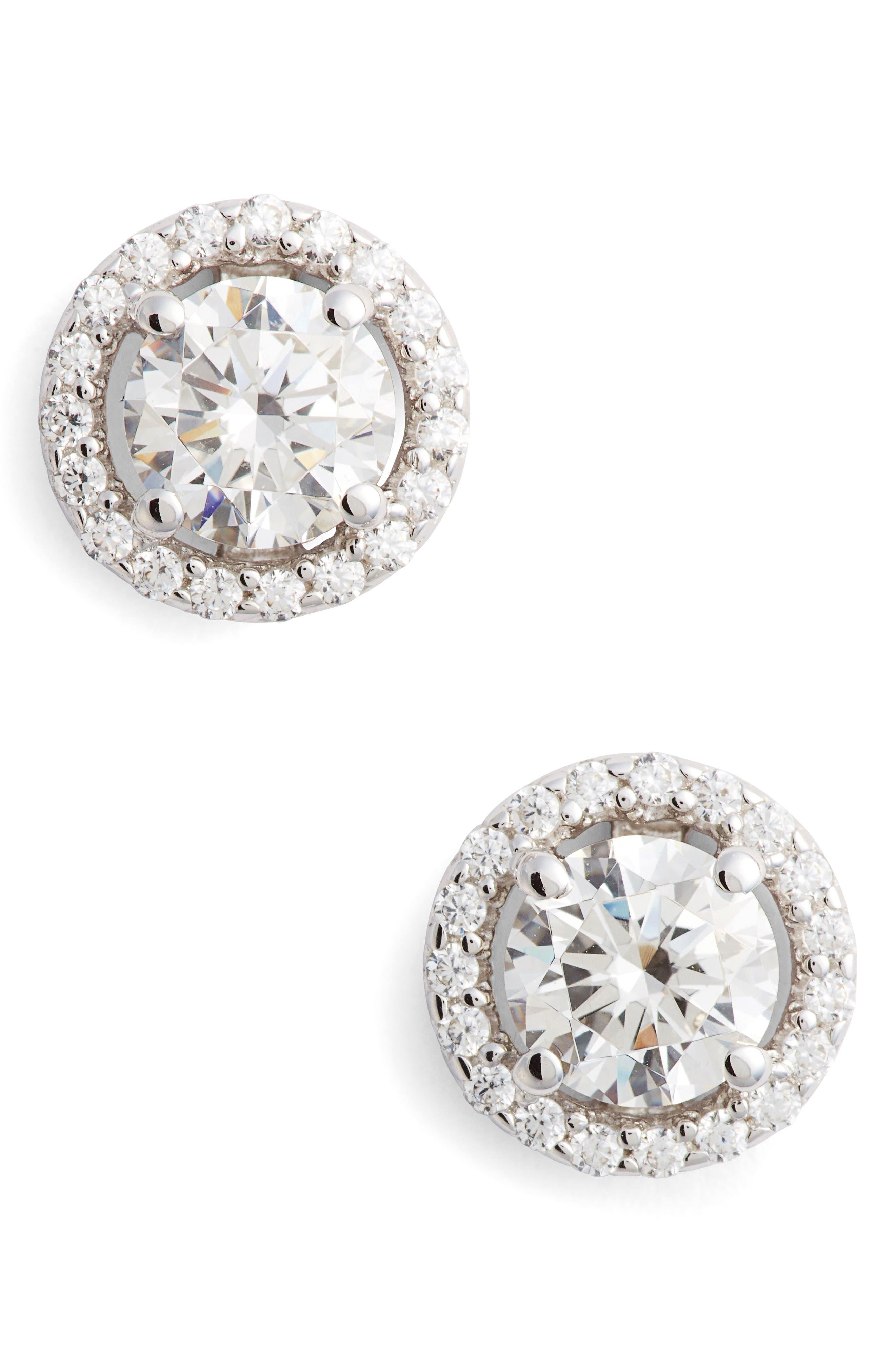 Simulated Diamond Stud Earrings,                         Main,                         color, Silver/ Clear
