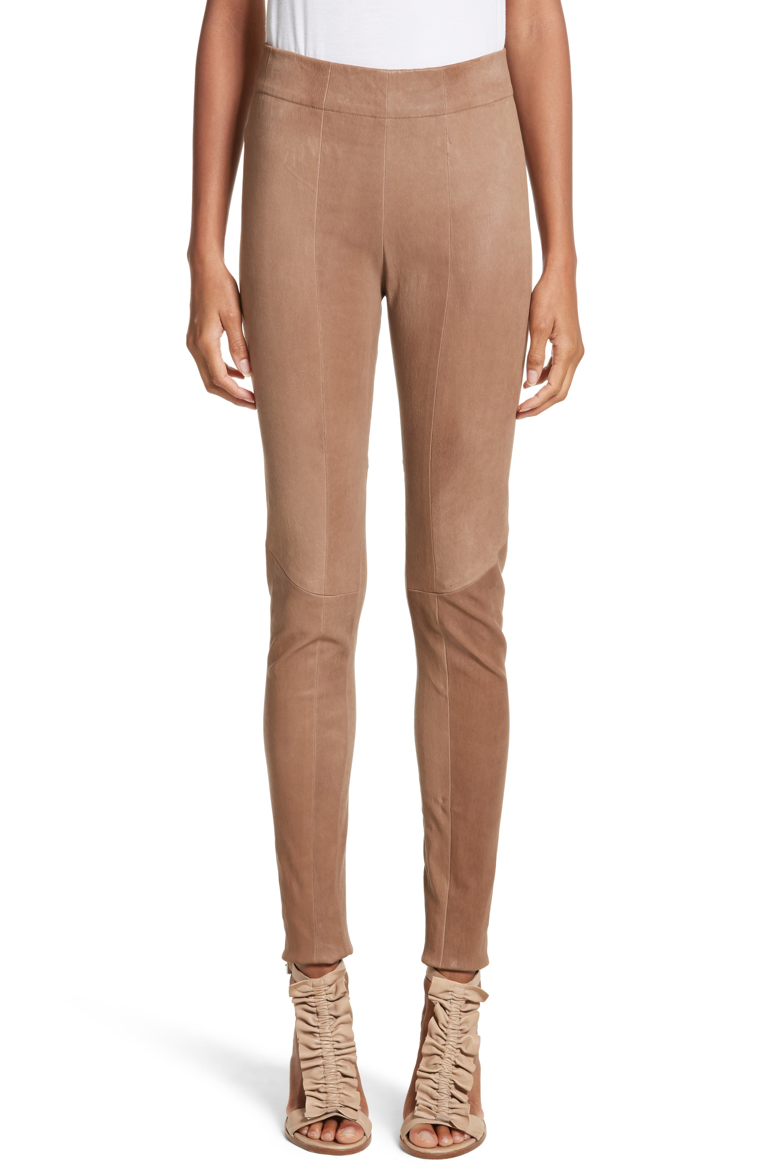 Lambskin Leather Skinny Pants,                         Main,                         color, Clay