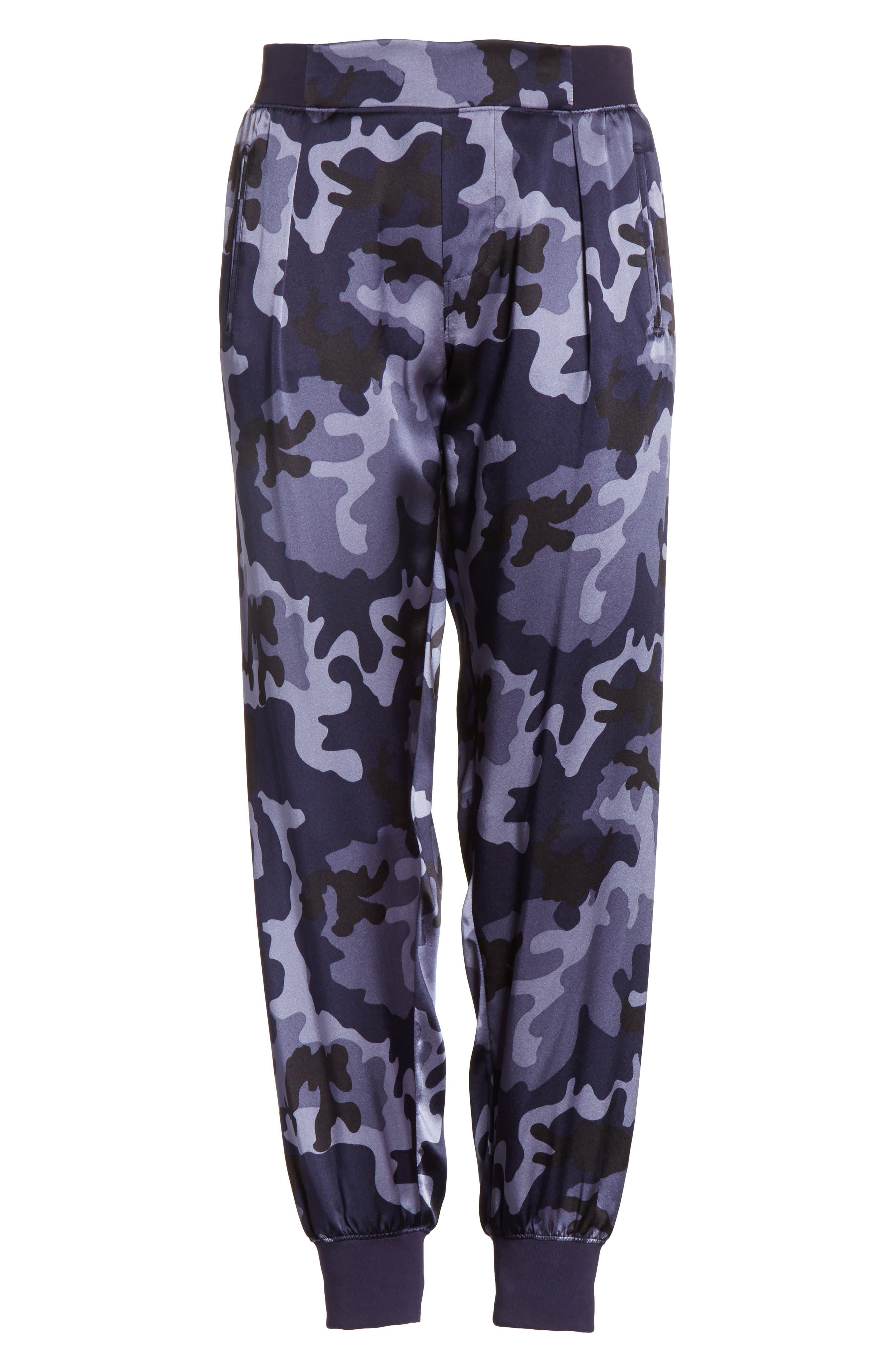 Camo Silk Lounge Pants,                             Alternate thumbnail 6, color,                             Blue Camo