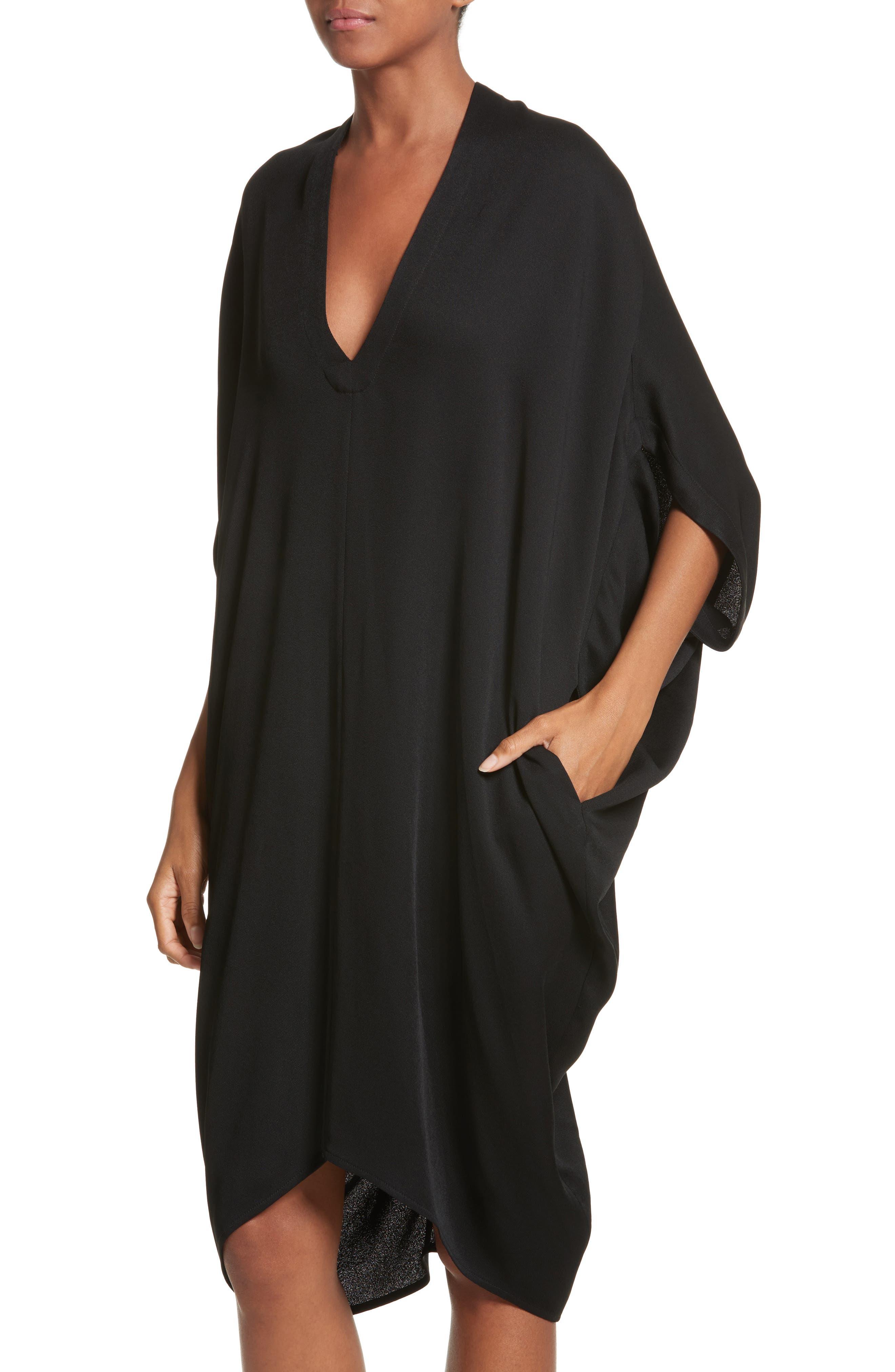 Eco Drape Dress,                             Alternate thumbnail 4, color,                             Black