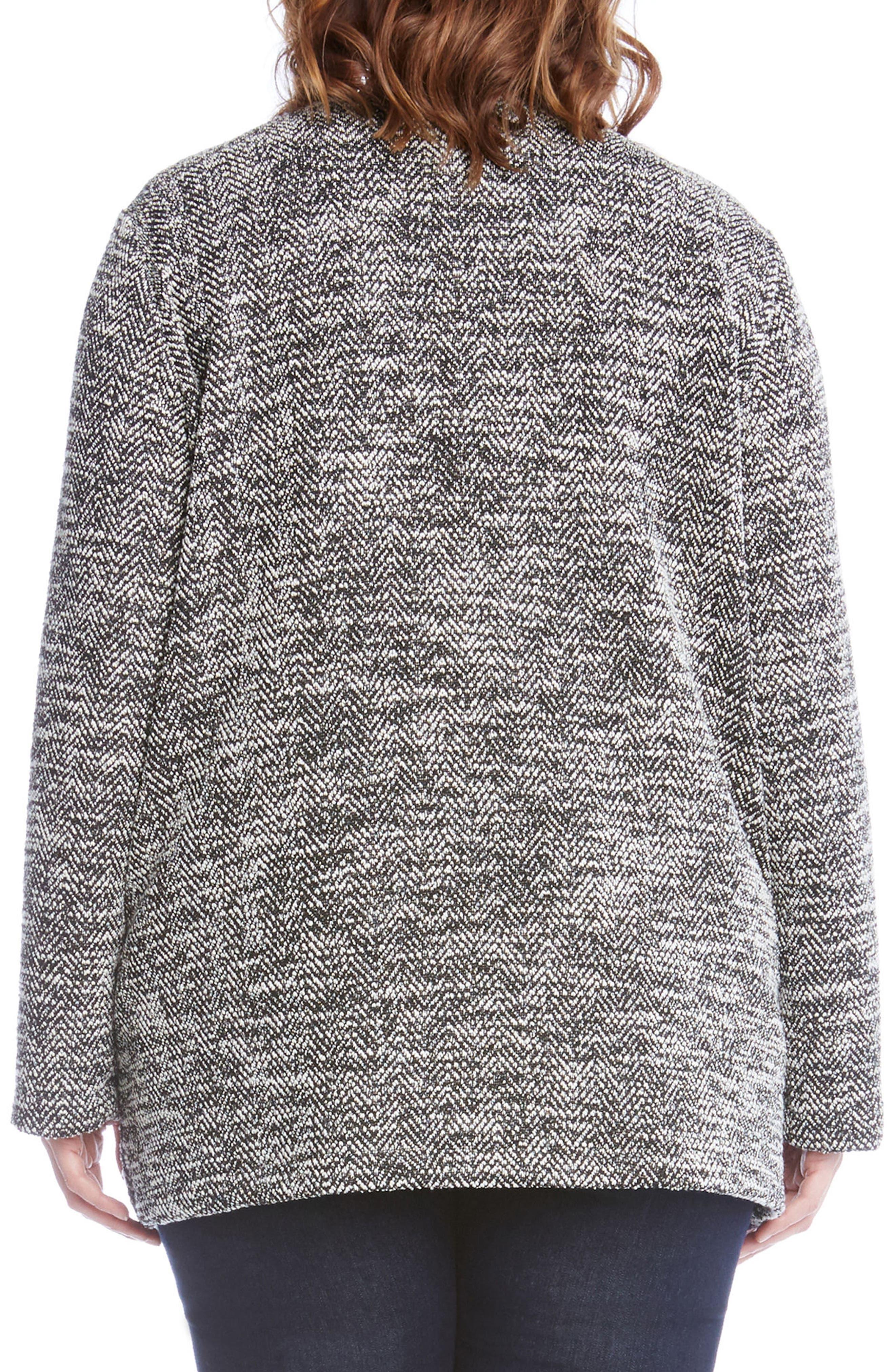 Alternate Image 3  - Karen Kane Lightweight Tweed Knit Jacket (Plus Size)
