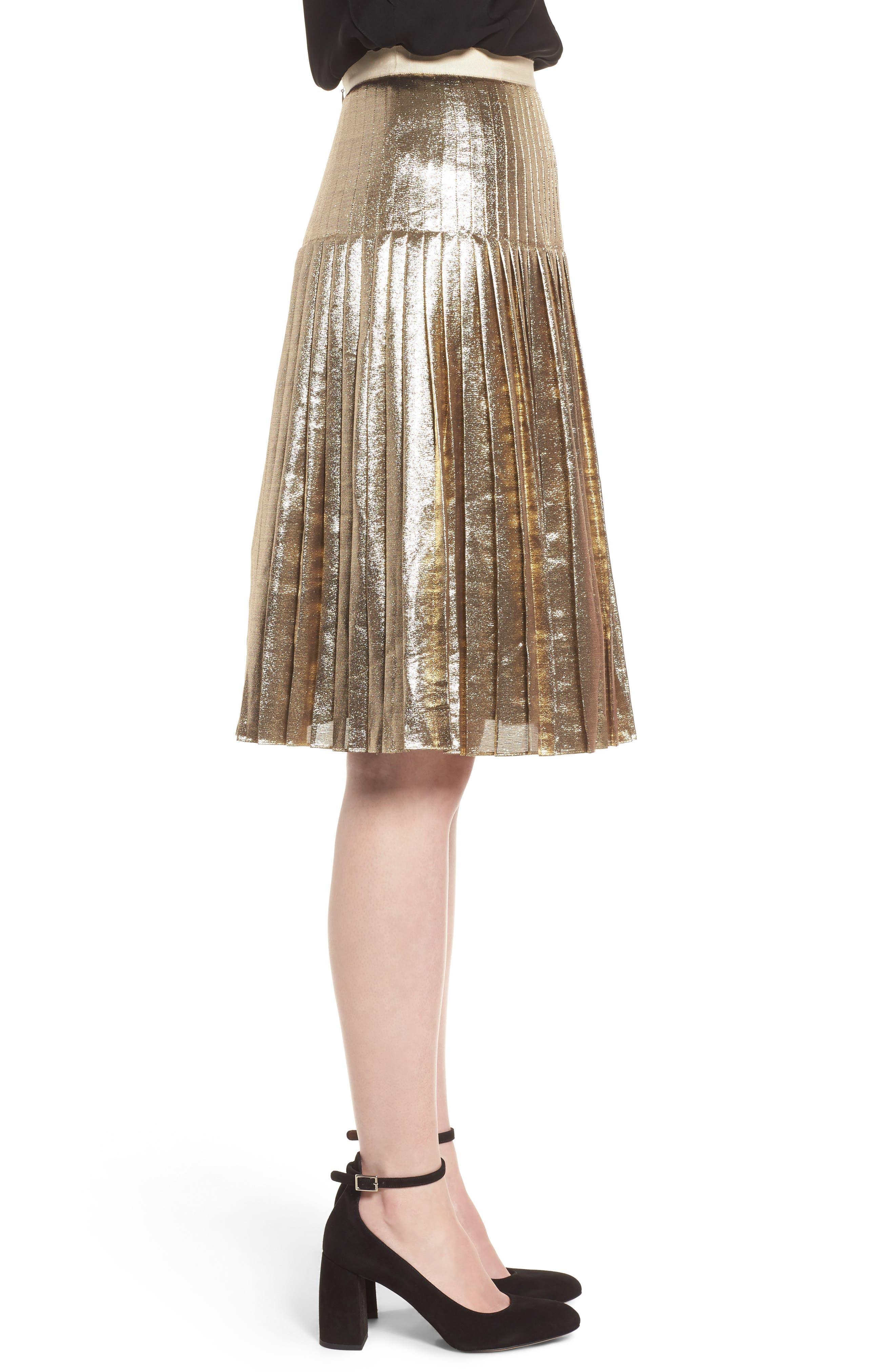 Alternate Image 3  - Lewit Pleated Metallic Skirt