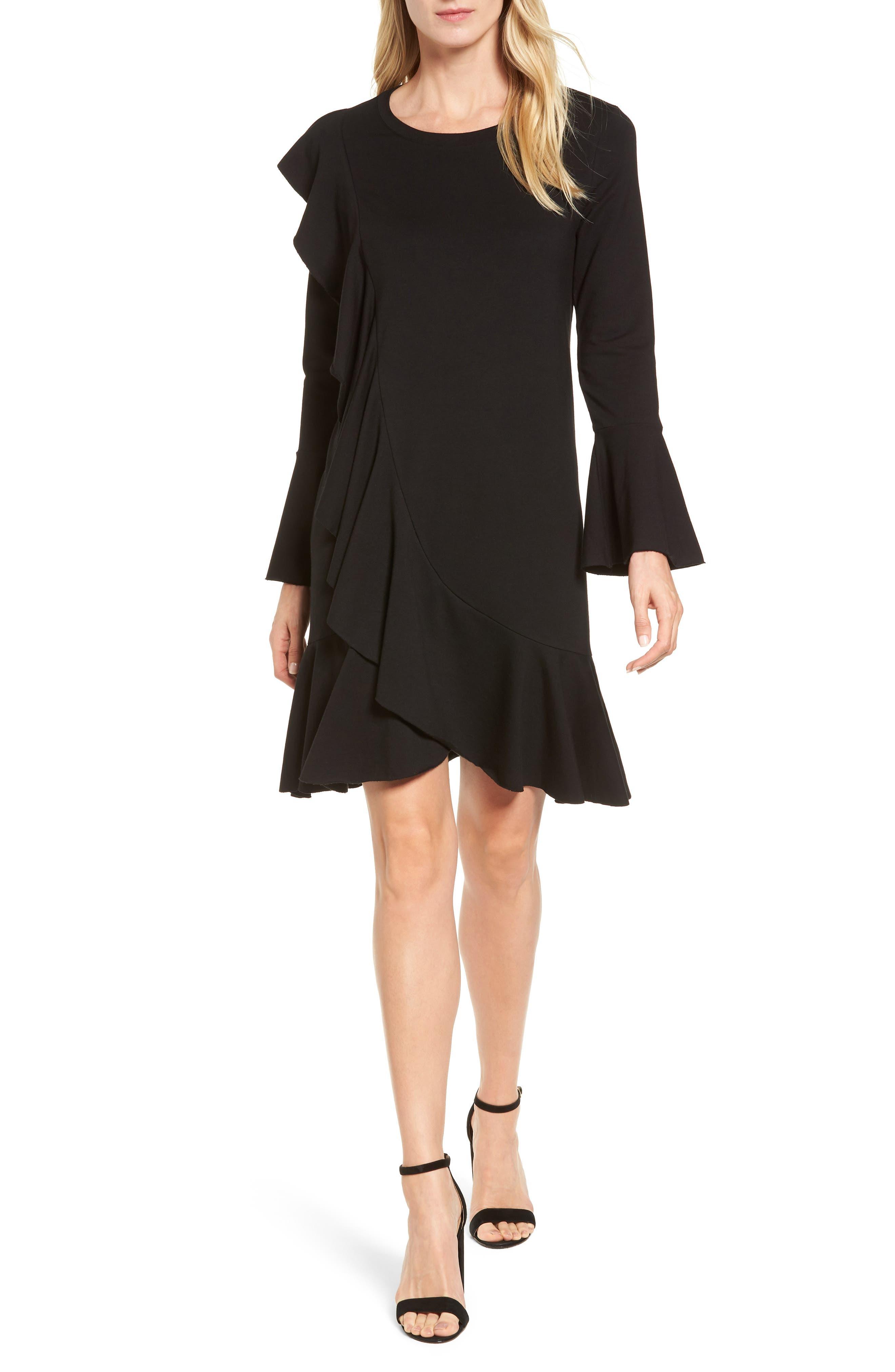 Ruffle Detail Knit Dress,                         Main,                         color, Black