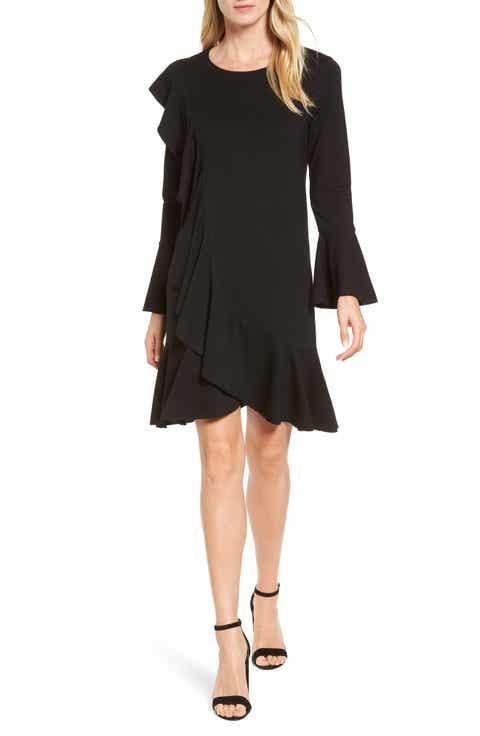 Halogen® Ruffle Detail Knit Dress (Regular & Petite)