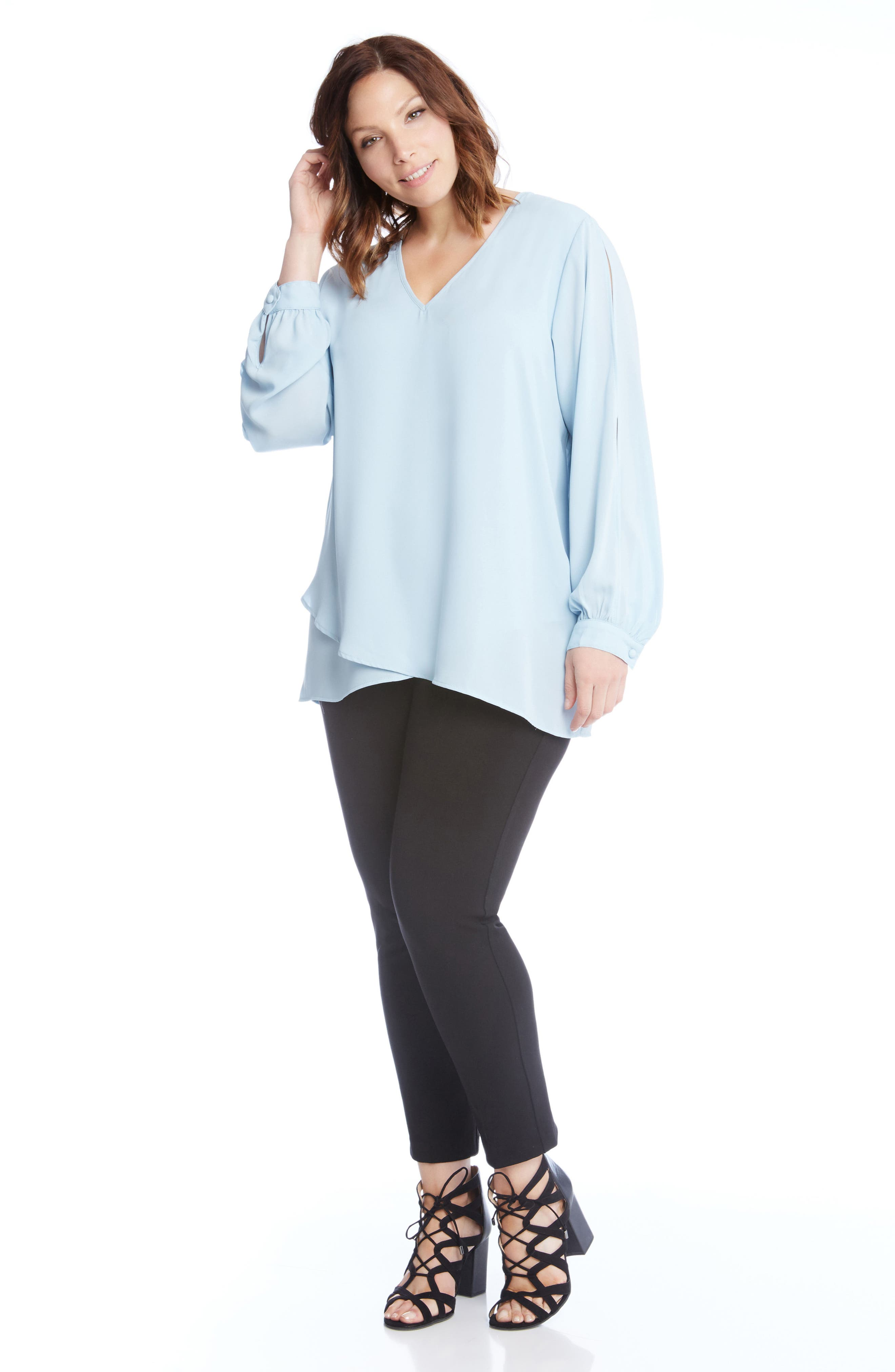 Slit Sleeve Asymmetrical Faux Wrap Top,                             Alternate thumbnail 4, color,                             Blue