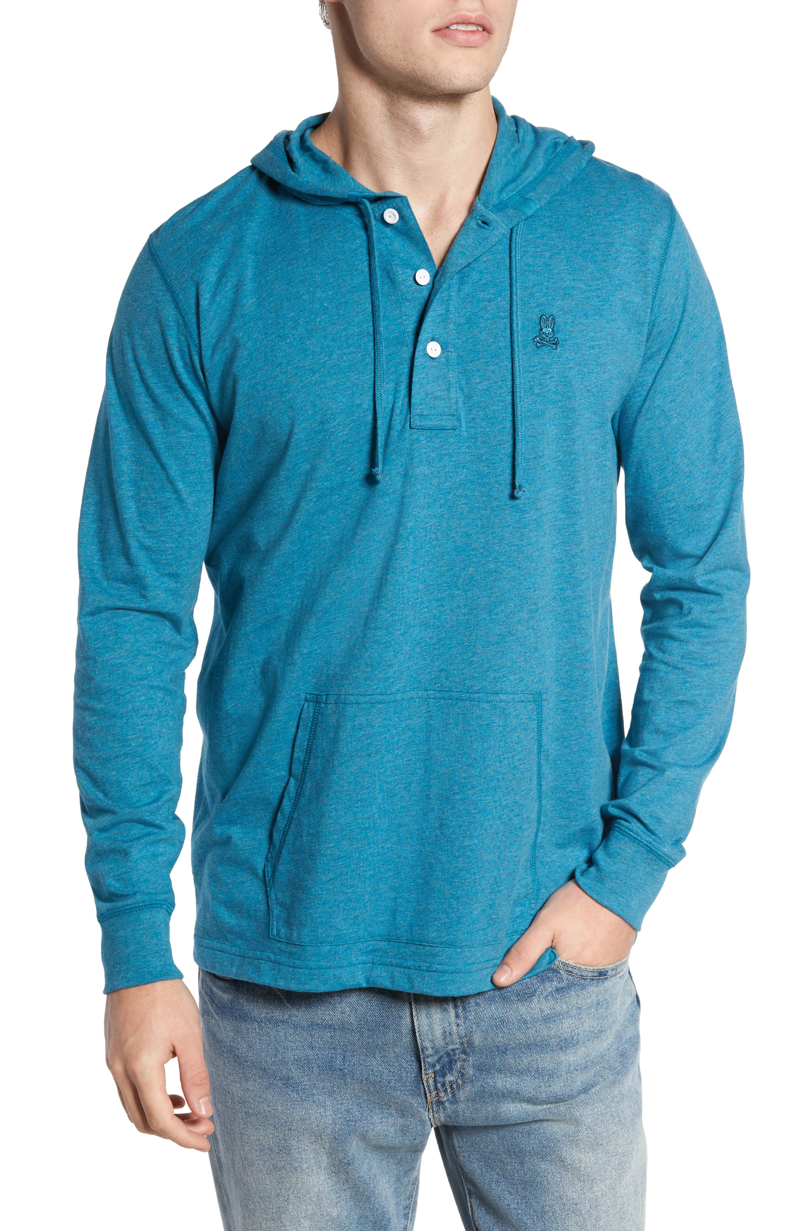 Delano Henley Hoodie,                             Main thumbnail 1, color,                             Heather Teal