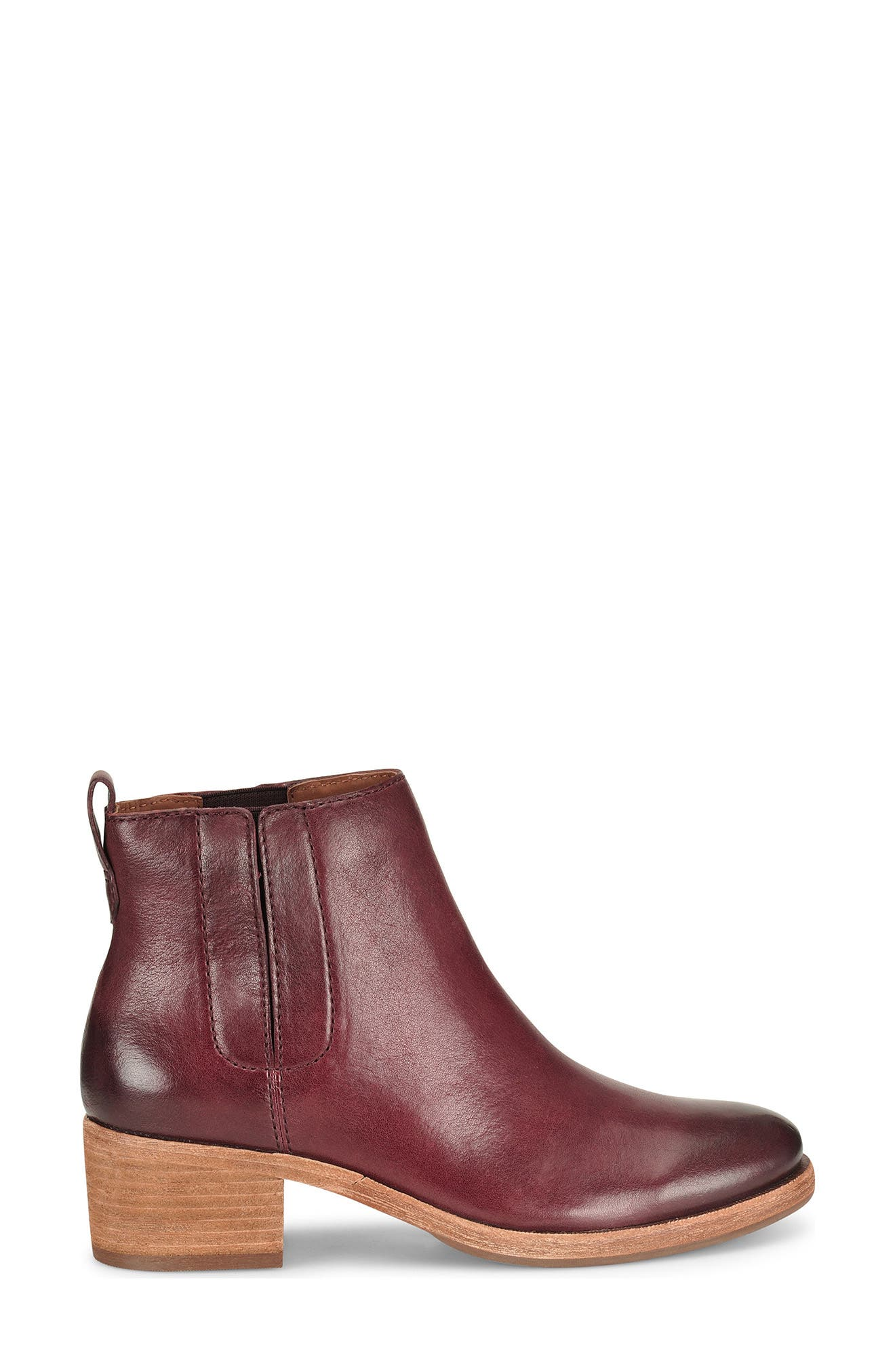 Mindo Chelsea Bootie,                             Alternate thumbnail 3, color,                             Burgundy Leather