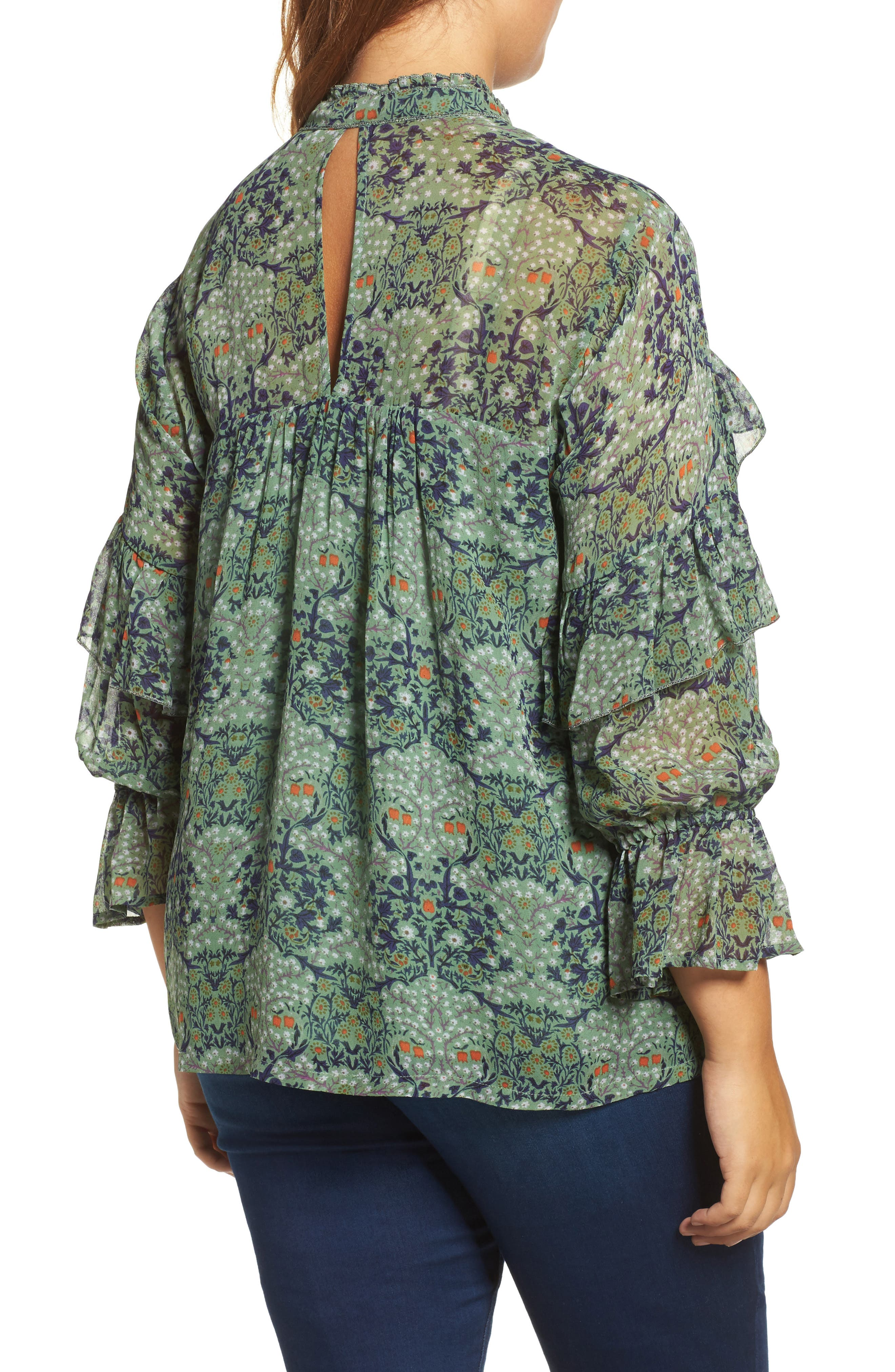 Ruffled Floral Blouse,                             Alternate thumbnail 2, color,                             Green Multi
