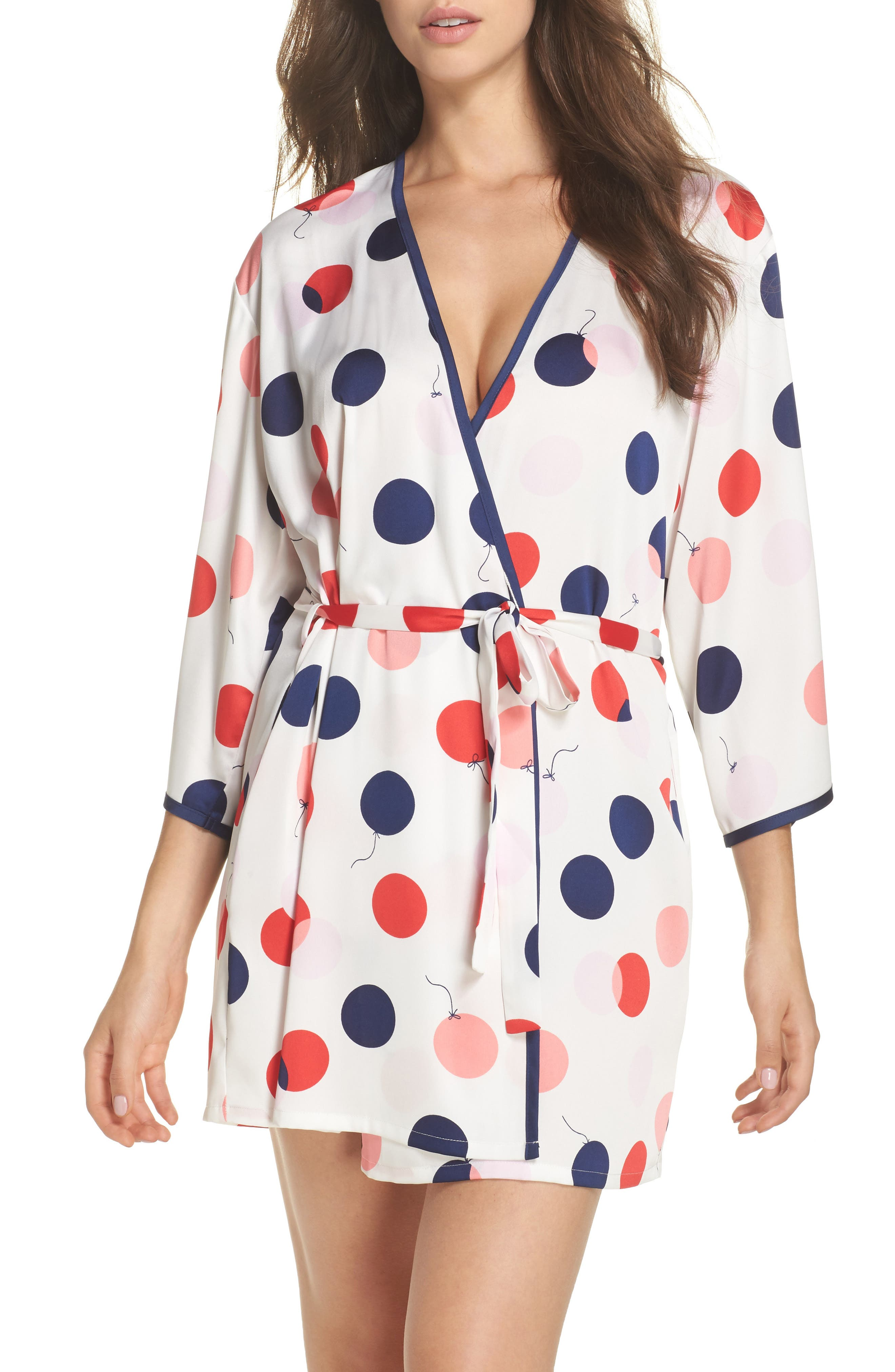 charmeuse short robe,                         Main,                         color, White/ Red