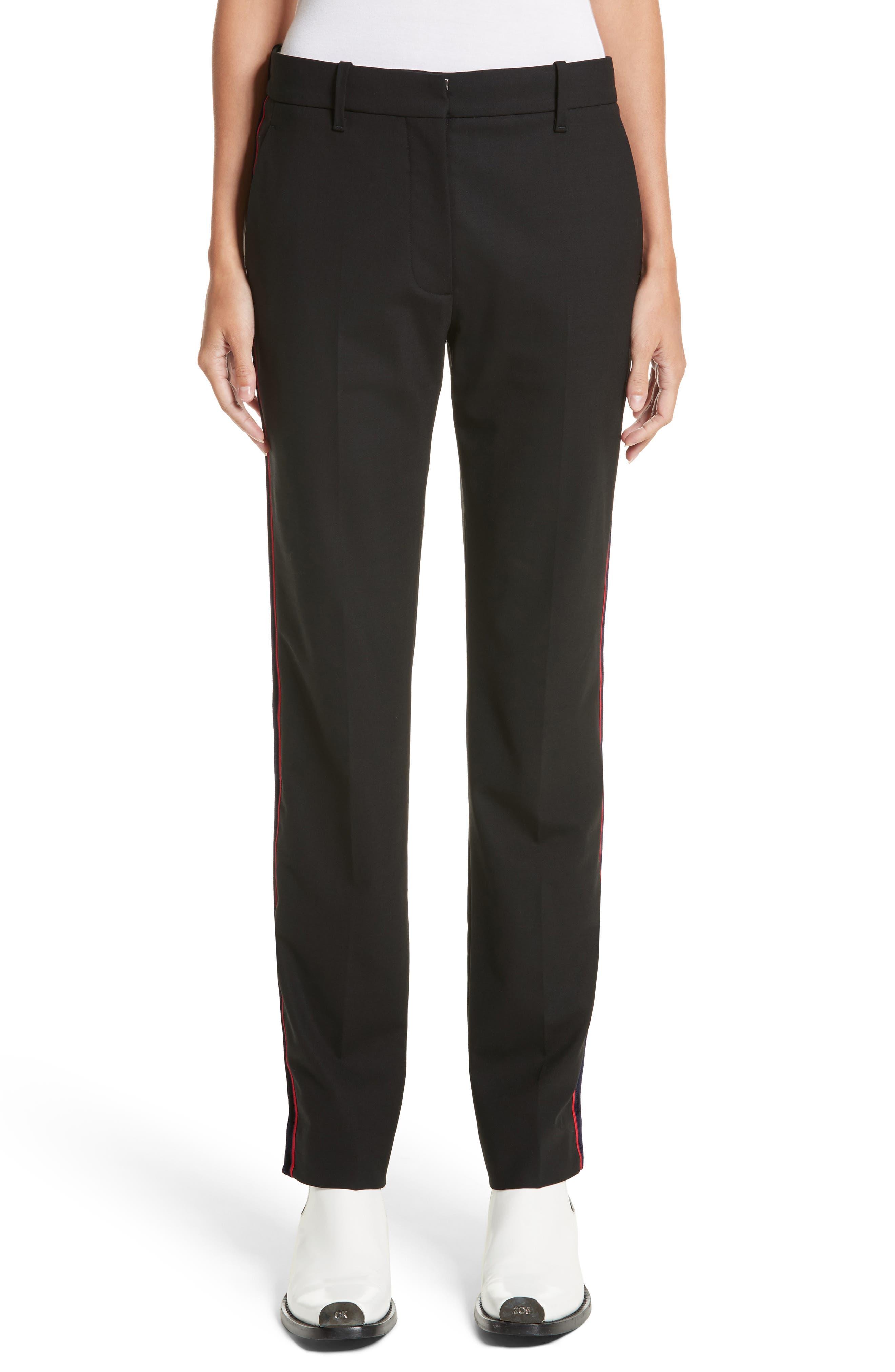 Velvet Stripe Stretch Wool Pants,                         Main,                         color, Black