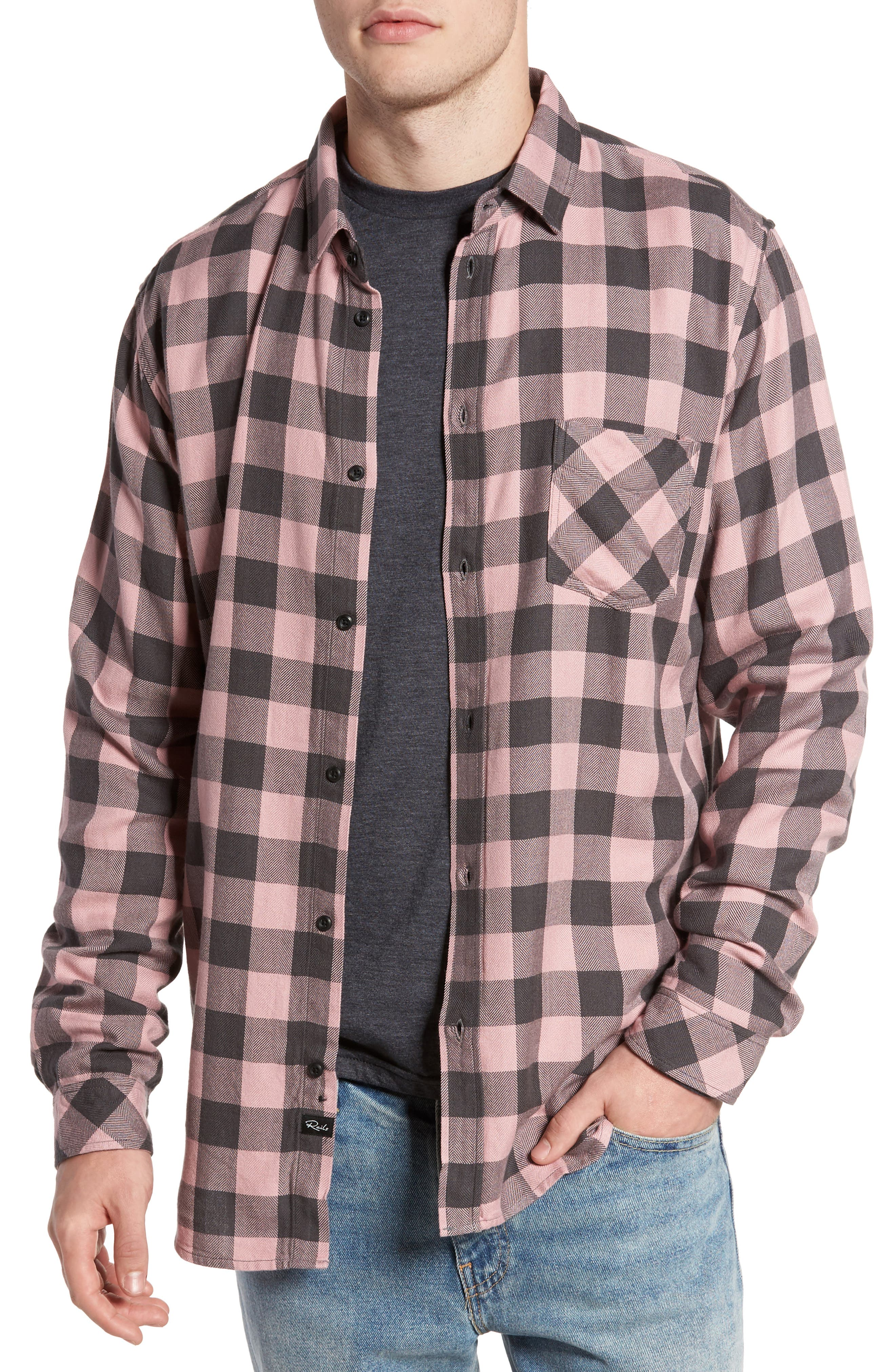 Lennox Sport Shirt,                         Main,                         color, Pale Pink/ Charcoal